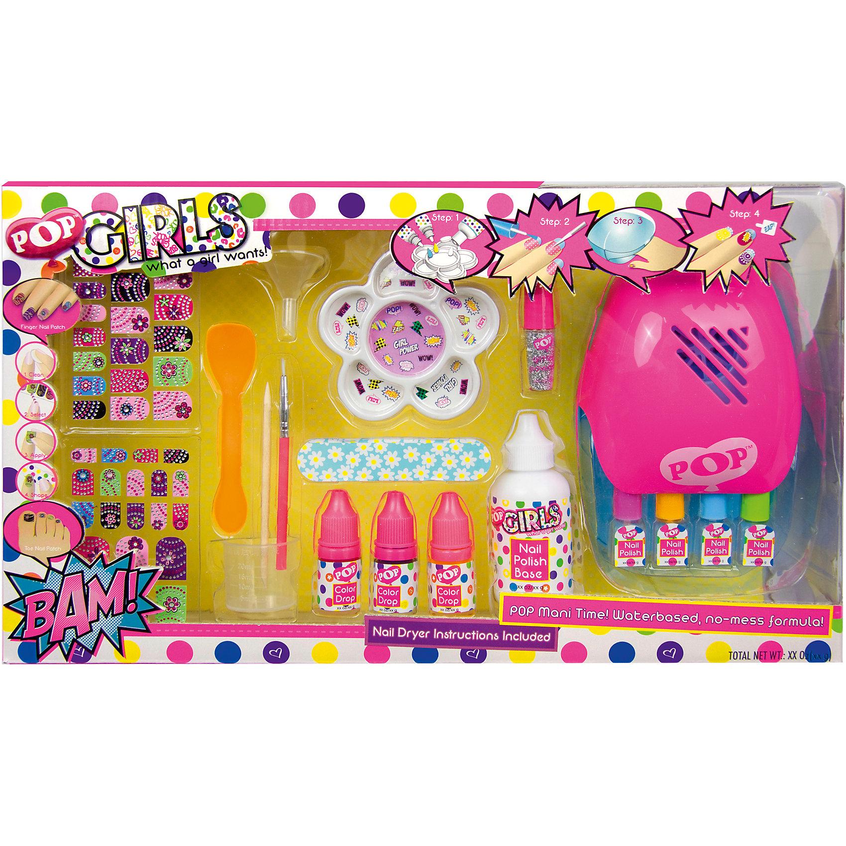 Большой Игровой набор детской декоративной косметики POP для ногтейКосметика, грим и парфюмерия<br>Большой Игровой набор детской декоративной косметики POP для ногтей, Markwins (Марквинс).<br><br>Характеристики:<br><br>• щадящая формула не повреждает ногти ребенка<br>• лак на водной основе<br>• цветовую гамму можно создать самостоятельно<br>• есть все необходимые инструменты<br>• не содержит парабенов и пальмового масла<br>• долго держится и легко стирается<br>• в комплекте: 3 краски на водной основе для создания лака для ногтей, базовое вещество для создания лака для ногтей, блёстки во флаконе, палитра для смешивания компонентов лака, мерный стаканчик, ложечка для смешивания, воронка для переливания лака, 4 флакона для лака, палочка для отодвигания кутикулы, пилочка для ногтей, кисть для нанесения рисунка на ногти, 40 наклеек для ногтей, устройство для сушки лака для ногтей<br>• размер: 39х8х24 см<br>• вес: 0,4 кг<br>• батарейки: АА - 2 шт. (В комплект не входят)<br>• перед первым применением рекомендуется провести тест на аллергию: нанесите немного косметики на кожу на 30-40 минут и проверьте реакцию<br><br>Каждая юная модница мечтает о безупречном маникюре. И если взрослые лаки использовать пока не стоит, то набор для ногтей Markwins отлично подойдет даже для маленьких девочек. Щадящая формула не вызывает раздражения и не повреждает ногти. Лак изготавливается на водной основе, причем цвет девочка может выбрать сама. Готовый маникюр можно дополнить блестками, наклейками или рисунком. В набор также входят: палочка для кутикулы, пилочка и аппарат для сушки. Проявив фантазию, девочка сможет создать идеальный маникюр, соответствующий её настроению!<br><br>Большой Игровой набор детской декоративной косметики POP для ногтей вы можете купить в нашем интернет-магазине.<br><br>Ширина мм: 390<br>Глубина мм: 74<br>Высота мм: 228<br>Вес г: 435<br>Возраст от месяцев: 48<br>Возраст до месяцев: 108<br>Пол: Женский<br>Возраст: Детский<br>SKU: 4540668