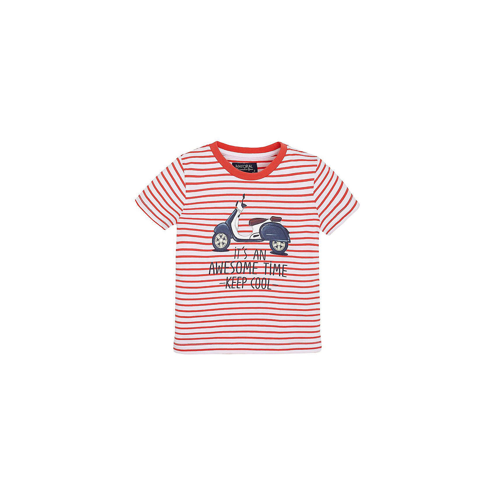 Футболка для мальчика MayoralФутболка для мальчика от известной испанской марки Mayoral <br><br>Стильная футболка от Mayoral - отличный вариант одежды на каждый день! Она прекрасно сочетается с джинсами и шортами.  Модель выполнена из качественных материалов, отлично сидит по фигуре.<br><br>Особенности модели:<br><br>- цвет: розовый, белый;<br>- рукава короткие;<br>- украшена принтом;<br>- натуральные материалы.<br><br>Дополнительная информация:<br><br>Состав: 100% хлопок<br><br>Футболку для мальчика Mayoral (Майорал) можно купить в нашем магазине.<br><br>Ширина мм: 199<br>Глубина мм: 10<br>Высота мм: 161<br>Вес г: 151<br>Цвет: розовый<br>Возраст от месяцев: 84<br>Возраст до месяцев: 96<br>Пол: Мужской<br>Возраст: Детский<br>Размер: 128,116,98,92,104,110,134,122<br>SKU: 4541304