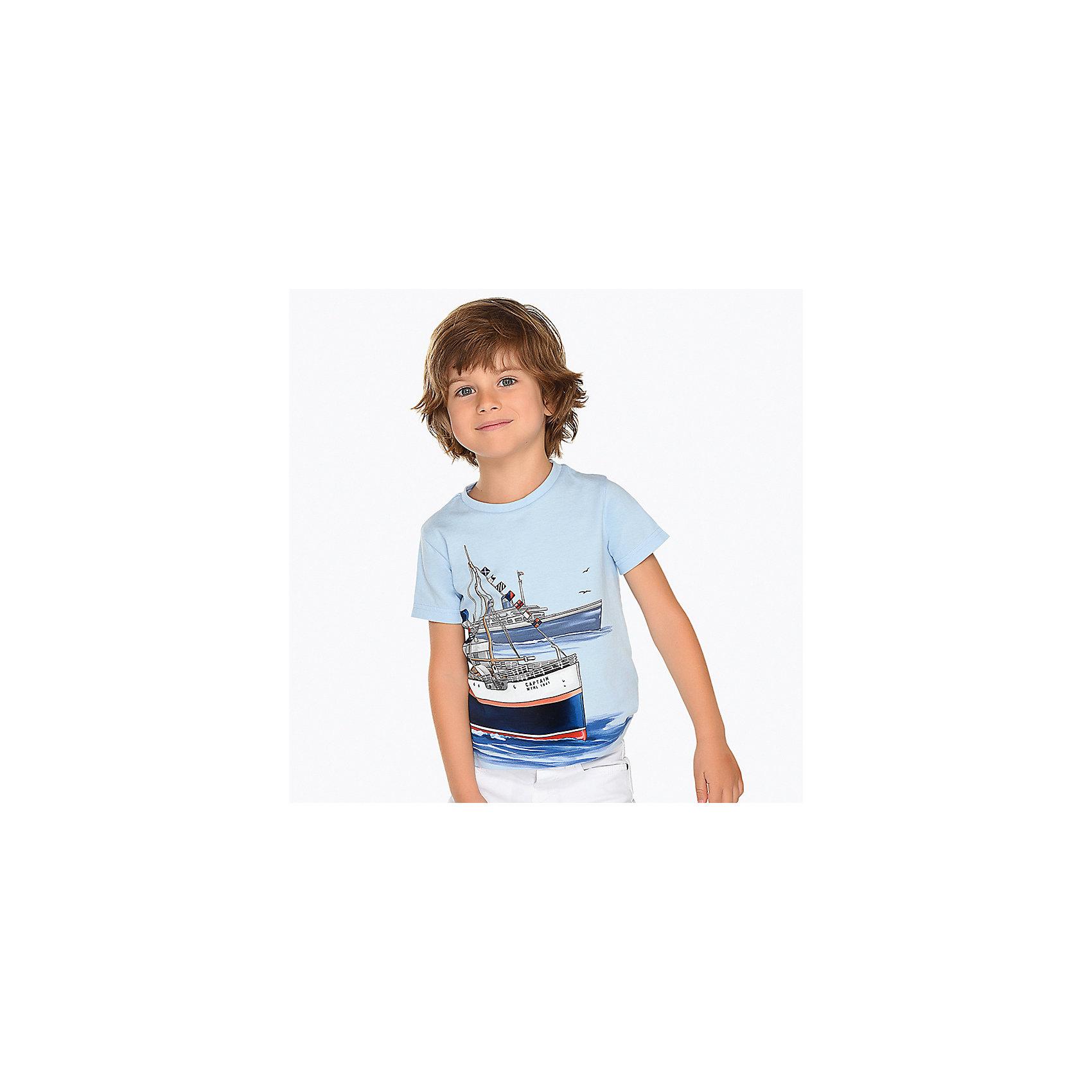 Футболка для мальчика MayoralФутболка для мальчика от известной испанской марки Mayoral <br><br>Хлопковая футболка от Mayoral - отличный вариант одежды на каждый день! Она прекрасно сочетается с джинсами и шортами.  Модель выполнена из качественных материалов, отлично сидит по фигуре.<br><br>Особенности модели:<br><br>- цвет: белый;<br>- рукава короткие;<br>- украшена принтом;<br>- натуральный материал.<br><br>Дополнительная информация:<br><br>Состав: 100% хлопок<br><br>Футболку для мальчика Mayoral (Майорал) можно купить в нашем магазине.<br><br>Ширина мм: 199<br>Глубина мм: 10<br>Высота мм: 161<br>Вес г: 151<br>Цвет: белый<br>Возраст от месяцев: 48<br>Возраст до месяцев: 60<br>Пол: Мужской<br>Возраст: Детский<br>Размер: 110,104,128,98,134,122,116<br>SKU: 4541429