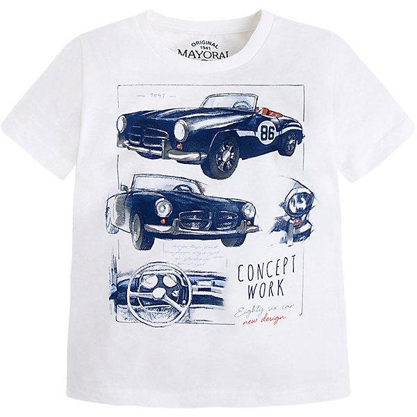 Футболка для мальчика MayoralФутболки, поло и топы<br>Футболка для мальчика от известной испанской марки Mayoral <br><br>Хлопковая футболка от Mayoral - отличный вариант одежды на каждый день! Она прекрасно сочетается с джинсами и шортами.  Модель выполнена из качественных материалов, отлично садится по фигуре.<br><br>Особенности модели:<br><br>- цвет: белый;<br>- рукава короткие;<br>- украшена принтом;<br>- натуральный материал.<br><br>Дополнительная информация:<br><br>Состав: 100% хлопок<br><br>Футболку для мальчика Mayoral (Майорал) можно купить в нашем магазине.<br>Ширина мм: 199; Глубина мм: 10; Высота мм: 161; Вес г: 151; Цвет: белый; Возраст от месяцев: 24; Возраст до месяцев: 36; Пол: Мужской; Возраст: Детский; Размер: 104,98,122,110,134,128,116; SKU: 4541445;