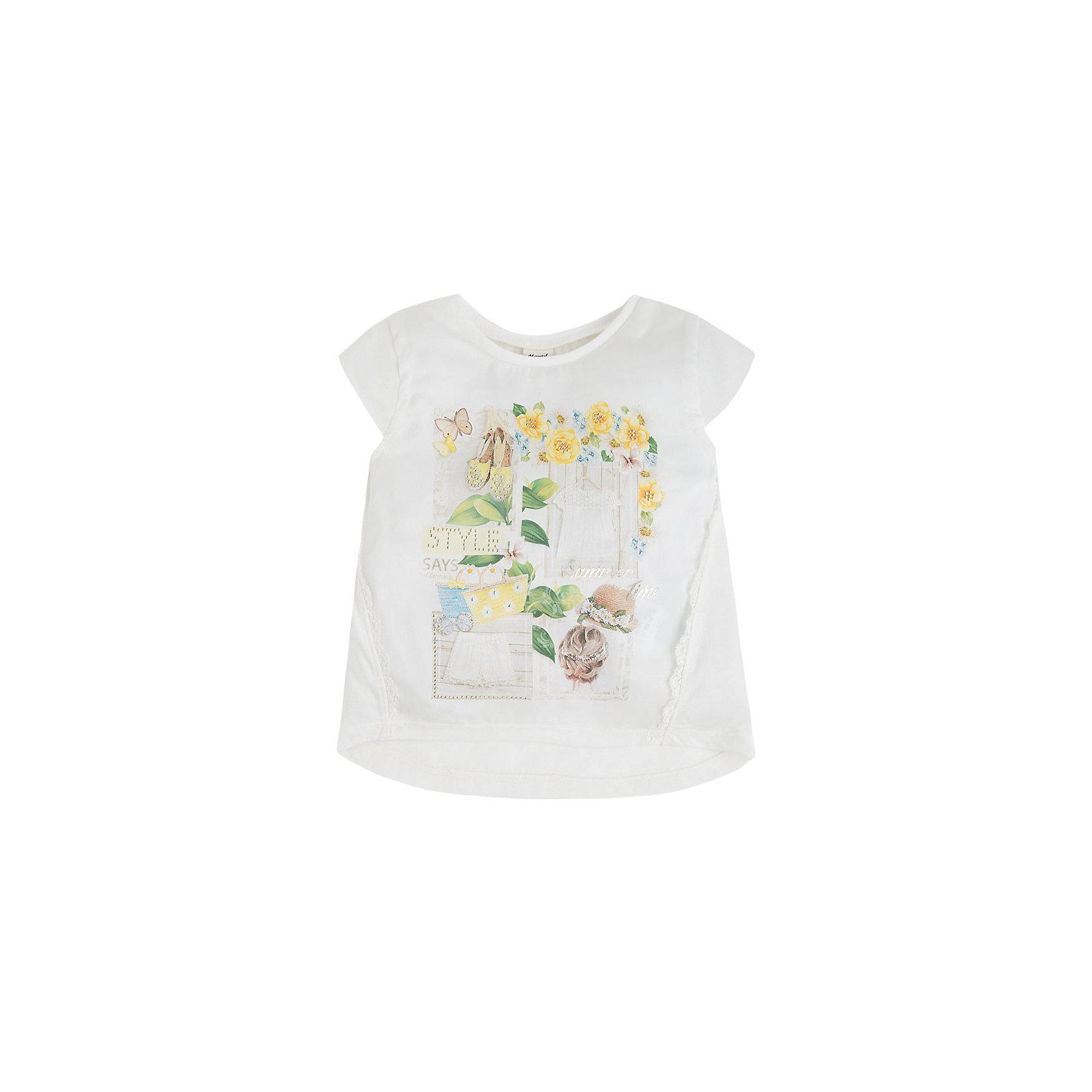 Футболка для девочки MayoralФутболка для девочки от известной испанской марки Mayoral <br><br>Оригинальная футболка от Mayoral - отличный вариант летней одежды для девочек! Выглядит нарядно и стильно. Модель выполнена из качественных материалов, отлично садится по фигуре.<br><br>Особенности модели:<br><br>- цвет: белый;<br>- рукава короткие;<br>- украшена принтом, стразами и кружевом;<br>- удлиненная спинка.<br><br>Дополнительная информация:<br><br>Состав: 60% полиэстер, 40% модал<br><br>Футболку для девочки Mayoral (Майорал) можно купить в нашем магазине.<br><br>Ширина мм: 199<br>Глубина мм: 10<br>Высота мм: 161<br>Вес г: 151<br>Цвет: желтый<br>Возраст от месяцев: 60<br>Возраст до месяцев: 72<br>Пол: Женский<br>Возраст: Детский<br>Размер: 116,98,134,122,128,110,104<br>SKU: 4541493