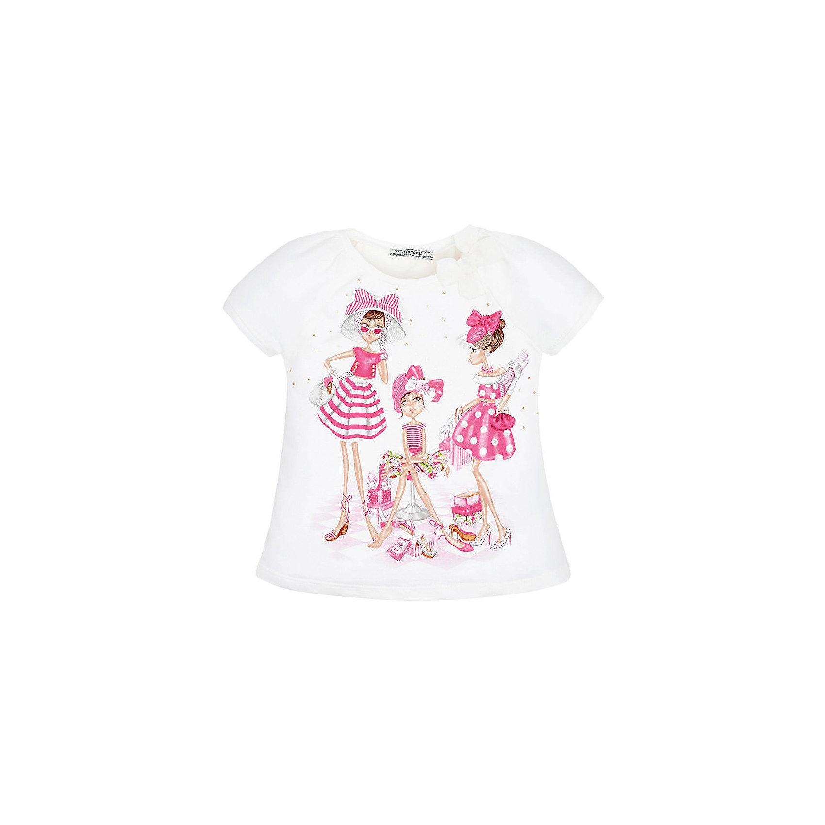 Футболка для девочки MayoralФутболки, поло и топы<br>Футболка для девочки от известной испанской марки Mayoral <br><br>Очень красивая  футболка от Mayoral - отличный вариант летней одежды для девочек! Выглядит нарядно и оригинально. Модель выполнена из качественных материалов, отлично садится по фигуре.<br><br>Особенности модели:<br><br>- цвет: белый;<br>- рукава короткие, реглан, со сборками;<br>- украшена принтом и стразами;<br>- эластичный материал.<br><br>Дополнительная информация:<br><br>Состав: 92% хлопок, 8% эластан<br><br>Футболку для девочки Mayoral (Майорал) можно купить в нашем магазине.<br><br>Ширина мм: 199<br>Глубина мм: 10<br>Высота мм: 161<br>Вес г: 151<br>Цвет: розовый<br>Возраст от месяцев: 36<br>Возраст до месяцев: 48<br>Пол: Женский<br>Возраст: Детский<br>Размер: 134,128,122,110,104,98,116,92<br>SKU: 4541519