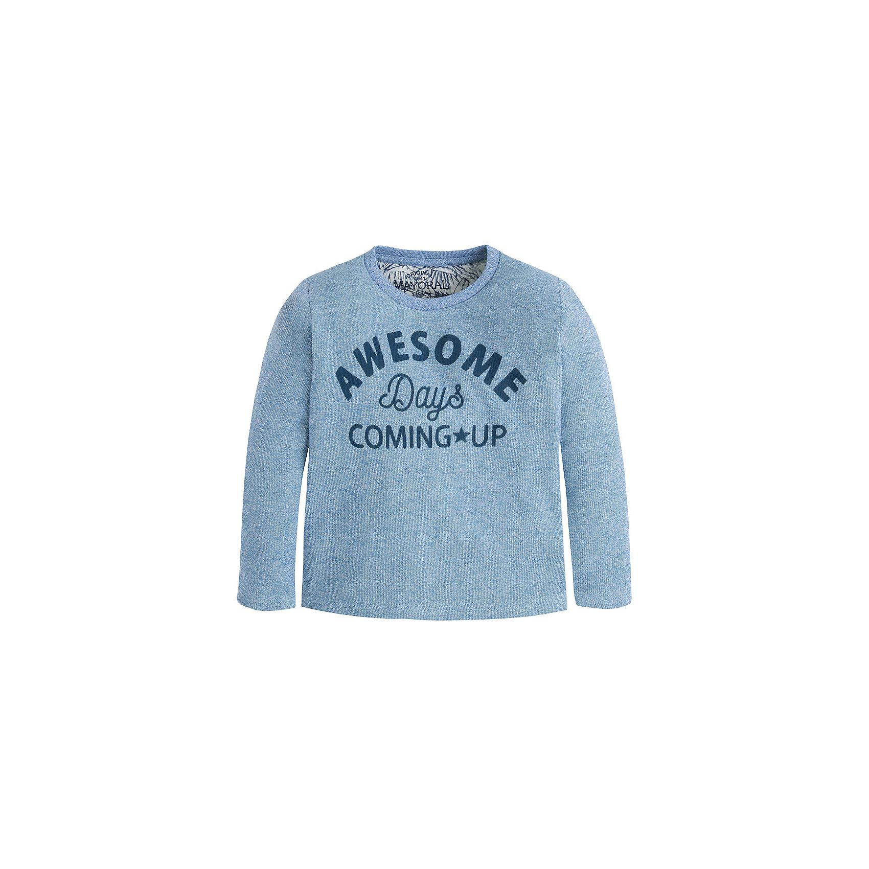 Футболка с длинным рукавом для мальчика MayoralФутболка с длинным рукавом для мальчика от известной испанской марки Mayoral <br><br>Модная хлопковая футболка от Mayoral - отличный вариант одежды на каждый день! Удобная, стильная, оригинальная.  Модель выполнена из качественных материалов, отлично сидит по фигуре.<br><br>Особенности модели:<br><br>- цвет: голубой;<br>- рукава длинные;<br>- круглый горловой вырез;<br>- украшена принтом;<br>- натуральный материал.<br><br>Дополнительная информация:<br><br>Состав: 100% хлопок<br><br>Футболку с длинным рукавомMayoral (Майорал) можно купить в нашем магазине.<br><br>Ширина мм: 230<br>Глубина мм: 40<br>Высота мм: 220<br>Вес г: 250<br>Цвет: синий<br>Возраст от месяцев: 84<br>Возраст до месяцев: 96<br>Пол: Мужской<br>Возраст: Детский<br>Размер: 128,104,98,134,122,116,110<br>SKU: 4541595