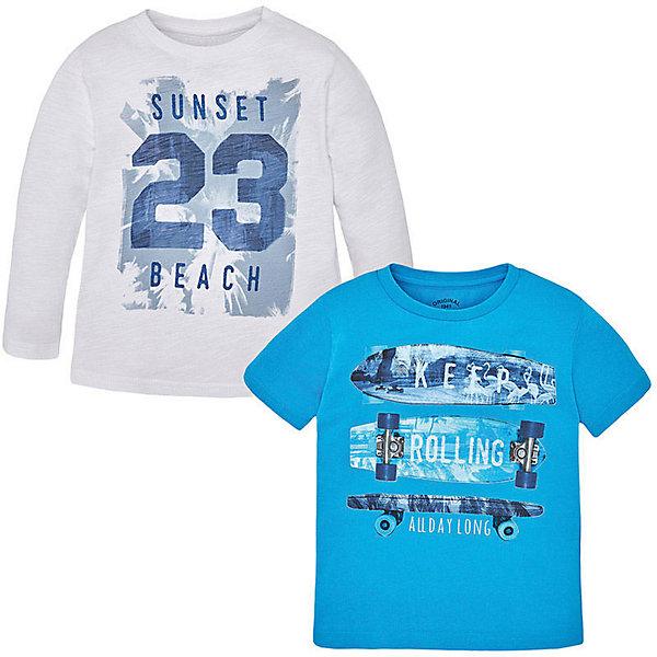 Комплект: футболка с длинным рукавом и футболка для мальчика MayoralКомплекты<br>Комплект для мальчика: футболка с длинным рукавом и футболка от известной испанской марки Mayoral - прекрасный вариант для вашего ребенка. <br><br>Дополнительная информация:<br><br>- Мягкая, приятная к телу ткань.<br>- Округлый вырез горловины.<br>- Прямой крой. <br>- Отделка горловины: в мелкий рубчик. <br>- Яркий принт спереди. <br>- Состав: 100 % хлопок.<br><br>Комплект для мальчика: футболку с длинным рукавом и футболку Mayoral (Майорал) можно купить в нашем магазине.<br>Ширина мм: 230; Глубина мм: 40; Высота мм: 220; Вес г: 250; Цвет: белый; Возраст от месяцев: 36; Возраст до месяцев: 48; Пол: Мужской; Возраст: Детский; Размер: 98,110,122,128,134,116,104; SKU: 4541611;