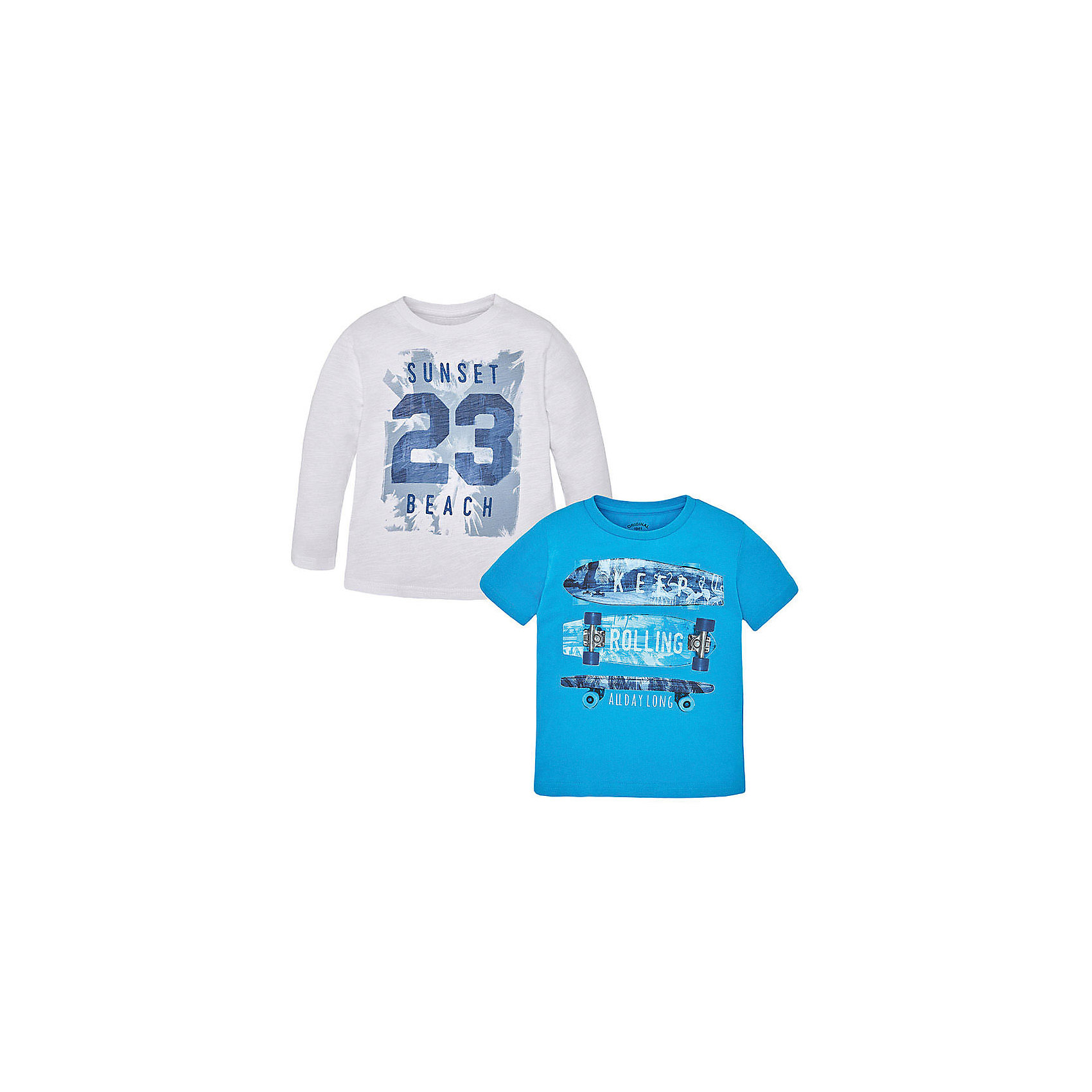 Mayoral Комплект: футболка с длинным рукавом и футболка для мальчика Mayoral футболка с длинным рукавом для мальчика barkito море 1 синяя