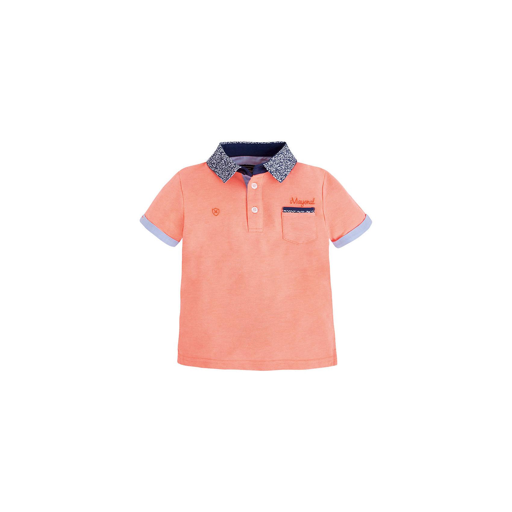 Футболка-поло для мальчика MayoralФутболки, поло и топы<br>Рубашка-поло для мальчика от известной испанской марки Mayoral <br><br>Стильная рубашка от Mayoral актуальна и на каждый день и на праздник! Она прекрасно сочетается с джинсами и брюками.  Модель выполнена из качественных материалов, отлично сидит по фигуре.<br><br>Особенности модели:<br><br>- цвет: розовый;<br>- рукава короткие;<br>- контрастная отделка ворота и рукавов;<br>- украшена вышивкой;<br>- натуральный материал.<br><br>Дополнительная информация:<br><br>Состав: 65% полиэстер, 35% хлопок<br><br>Рубашку-поло для мальчика Mayoral (Майорал) можно купить в нашем магазине.<br><br>Ширина мм: 174<br>Глубина мм: 10<br>Высота мм: 169<br>Вес г: 157<br>Цвет: оранжевый<br>Возраст от месяцев: 60<br>Возраст до месяцев: 72<br>Пол: Мужской<br>Возраст: Детский<br>Размер: 116,98,134,128,122,110,104<br>SKU: 4541687
