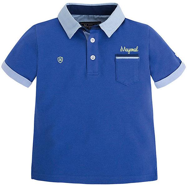 Футболка-поло для мальчика MayoralФутболки, поло и топы<br>Рубашка-поло для мальчика от известной испанской марки Mayoral <br><br>Модная рубашка от Mayoral актуальна и на каждый день и на праздник! Она прекрасно сочетается с джинсами и брюками.  Модель выполнена из качественных материалов, отлично сидит по фигуре.<br><br>Особенности модели:<br><br>- цвет: синий;<br>- рукава короткие;<br>- контрастная отделка ворота и рукавов;<br>- украшена вышивкой;<br>- натуральный материал.<br><br>Дополнительная информация:<br><br>Состав: 100% хлопок<br><br>Рубашку-поло для мальчика Mayoral (Майорал) можно купить в нашем магазине.<br><br>Ширина мм: 174<br>Глубина мм: 10<br>Высота мм: 169<br>Вес г: 157<br>Цвет: голубой<br>Возраст от месяцев: 72<br>Возраст до месяцев: 84<br>Пол: Мужской<br>Возраст: Детский<br>Размер: 122,116,98,104,110,128,134<br>SKU: 4541695