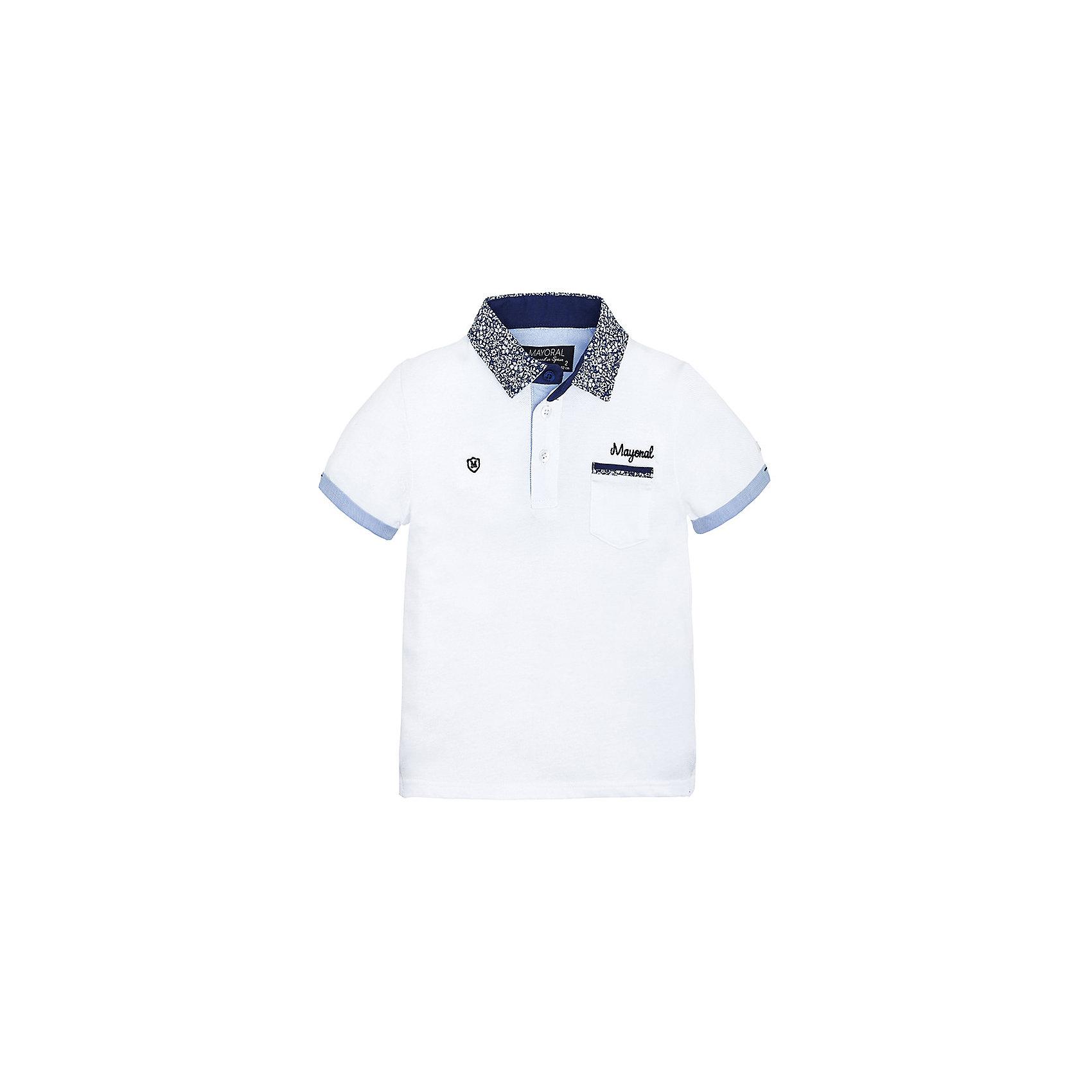 Футболка-поло для мальчика MayoralФутболки, поло и топы<br>Рубашка-поло для мальчика от известной испанской марки Mayoral <br><br>Стильная рубашка от Mayoral смотрится отлично и с джинсами и с брюками.  Модель выполнена из качественных материалов, хорошо сидит по фигуре. Модная и универсальная вещь.<br><br>Особенности модели:<br><br>- цвет: белый;<br>- рукава короткие;<br>- контрастная отделка ворота и рукавов;<br>- украшена вышивкой;<br>- натуральный материал.<br><br>Дополнительная информация:<br><br>Состав: 100% хлопок<br><br>Рубашку-поло для мальчика Mayoral (Майорал) можно купить в нашем магазине.<br><br>Ширина мм: 174<br>Глубина мм: 10<br>Высота мм: 169<br>Вес г: 157<br>Цвет: белый<br>Возраст от месяцев: 84<br>Возраст до месяцев: 96<br>Пол: Мужской<br>Возраст: Детский<br>Размер: 128,122,134,116,110,98,104<br>SKU: 4541711