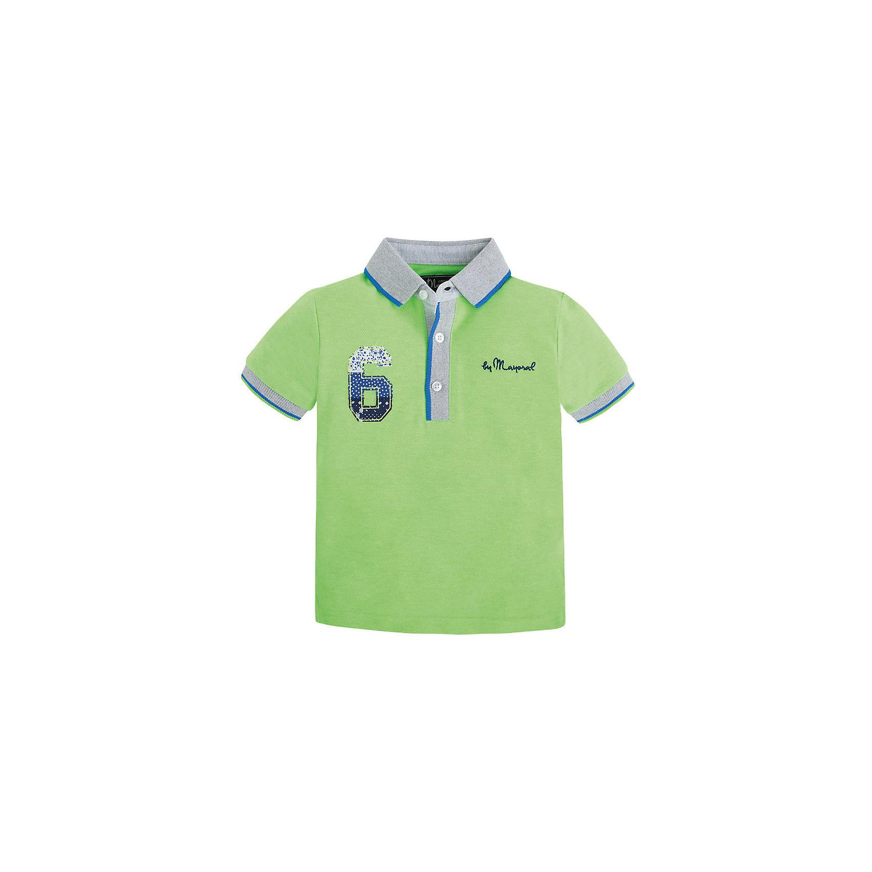 Футболка-поло для мальчика MayoralРубашка-поло для мальчика от известной испанской марки Mayoral <br><br>Стильная рубашка от Mayoral смотрится отлично и с джинсами и с брюками.  Модель выполнена из качественных материалов, хорошо сидит по фигуре. Модная и универсальная вещь.<br><br>Особенности модели:<br><br>- цвет: зеленый;<br>- рукава короткие;<br>- контрастная отделка ворота и рукавов;<br>- украшена вышивкой;<br>- натуральный материал.<br><br>Дополнительная информация:<br><br>Состав: 100% хлопок<br><br>Рубашку-поло для мальчика Mayoral (Майорал) можно купить в нашем магазине.<br><br>Ширина мм: 174<br>Глубина мм: 10<br>Высота мм: 169<br>Вес г: 157<br>Цвет: зеленый<br>Возраст от месяцев: 96<br>Возраст до месяцев: 108<br>Пол: Мужской<br>Возраст: Детский<br>Размер: 134,116,98,104,110,122,128<br>SKU: 4541719