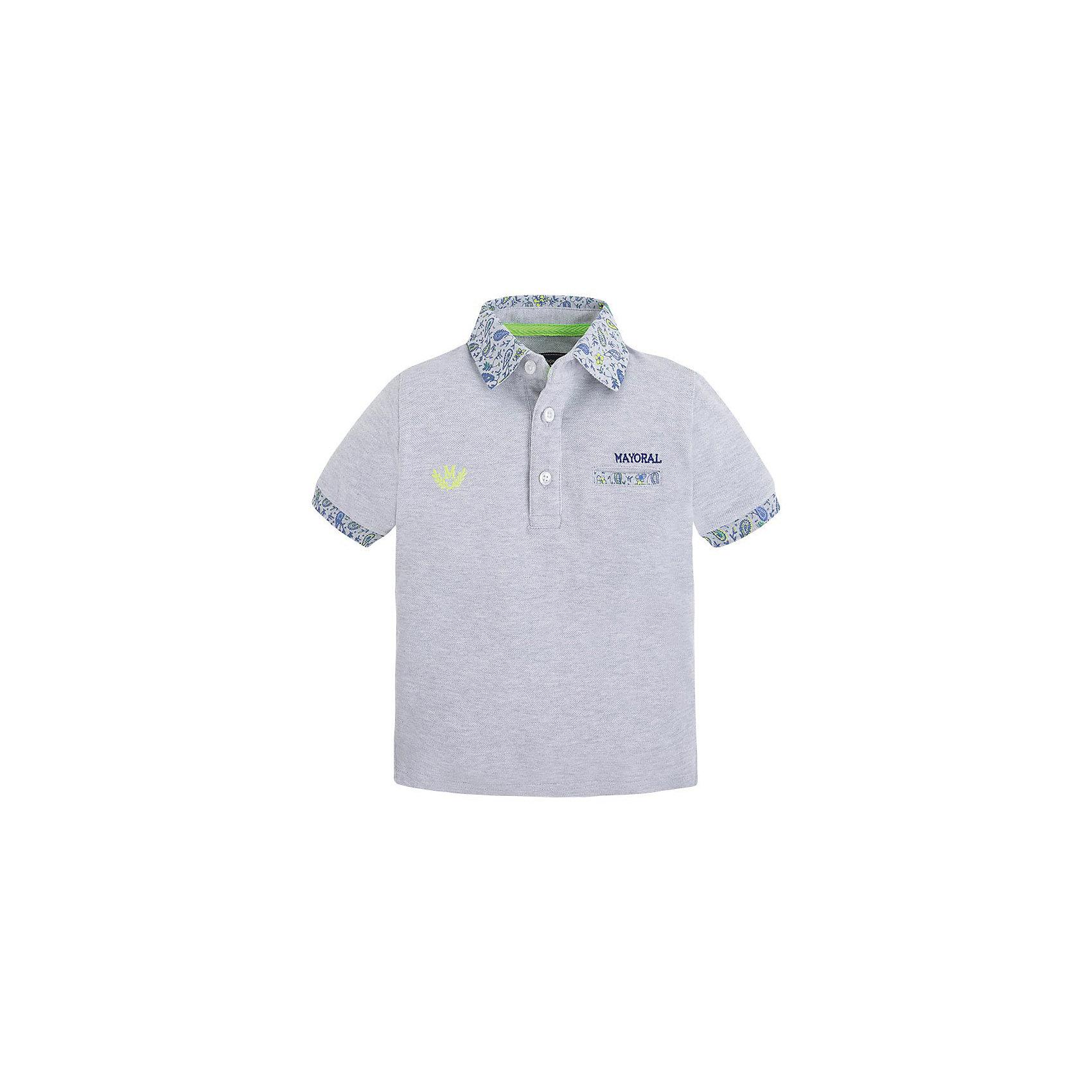 Футболка-поло для мальчика MayoralРубашка-поло для мальчика от известной испанской марки Mayoral <br><br>Стильная рубашка от Mayoral смотрится отлично и с джинсами и с брюками.  Модель выполнена из качественных материалов, хорошо сидит по фигуре. Модная и универсальная вещь.<br><br>Особенности модели:<br><br>- цвет: серый;<br>- рукава короткие;<br>- контрастная отделка ворота и рукавов;<br>- украшена вышивкой;<br>- натуральный материал.<br><br>Дополнительная информация:<br><br>Состав: 100% хлопок<br><br>Рубашку-поло для мальчика Mayoral (Майорал) можно купить в нашем магазине.<br><br>Ширина мм: 199<br>Глубина мм: 10<br>Высота мм: 161<br>Вес г: 151<br>Цвет: серый<br>Возраст от месяцев: 36<br>Возраст до месяцев: 48<br>Пол: Мужской<br>Возраст: Детский<br>Размер: 110,98,128,134,116,104,122<br>SKU: 4541727