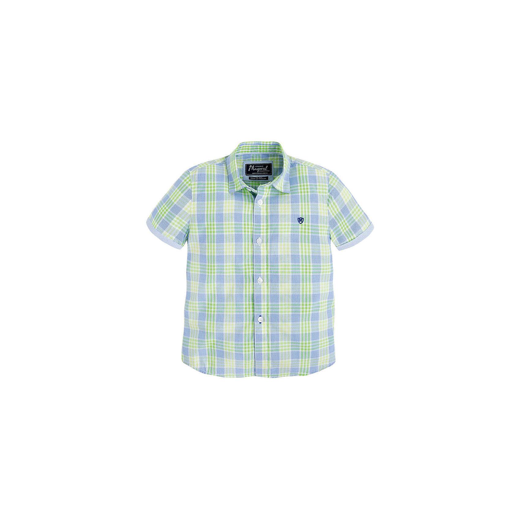 Рубашка для мальчика MayoralРубашка для мальчика от известной испанской марки Mayoral <br><br>Модная рубашка от Mayoral актуальна и на каждый день и на праздник! Она прекрасно сочетается с джинсами и брюками.  Модель выполнена из качественных материалов, отлично сидит по фигуре.<br><br>Особенности модели:<br><br>- цвет: клетка;<br>- рукава короткие;<br>- застежки - пуговицы;<br>- украшена вышивкой;<br>- натуральный материал.<br><br>Дополнительная информация:<br><br>Состав: 100% хлопок<br><br>Рубашку для мальчика Mayoral (Майорал) можно купить в нашем магазине.<br><br>Ширина мм: 174<br>Глубина мм: 10<br>Высота мм: 169<br>Вес г: 157<br>Цвет: зеленый<br>Возраст от месяцев: 48<br>Возраст до месяцев: 60<br>Пол: Мужской<br>Возраст: Детский<br>Размер: 110,98,104,122,116,128,134<br>SKU: 4541780
