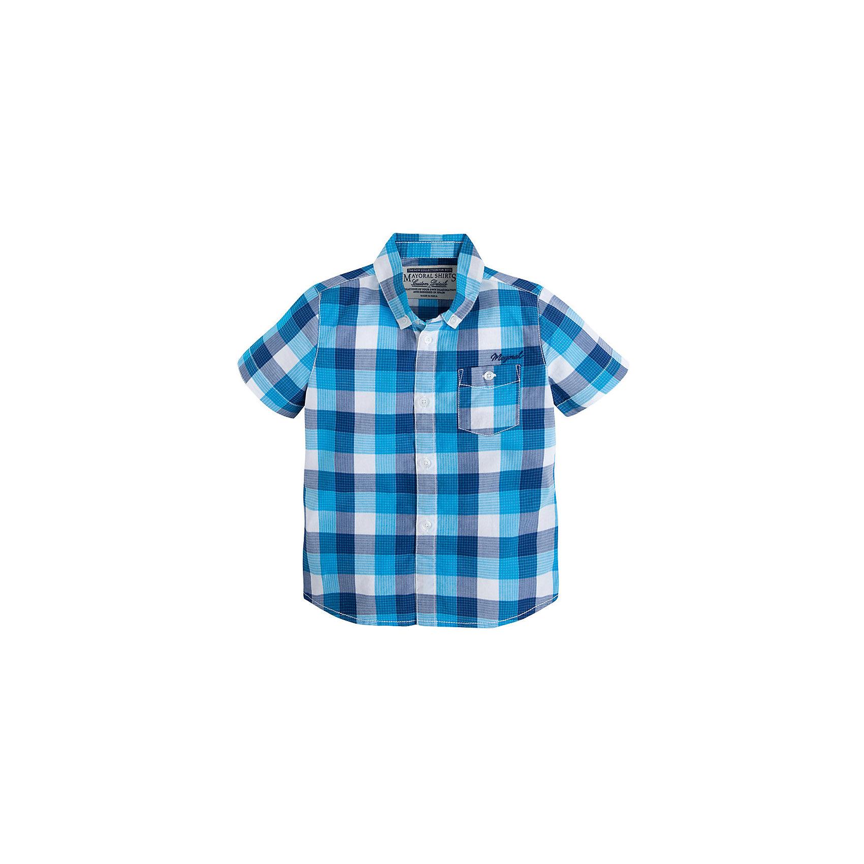 Рубашка для мальчика MayoralБлузки и рубашки<br>Рубашка для мальчика от известной испанской марки Mayoral <br><br>Модная рубашка от Mayoral актуальна и на каждый день и на праздник! Она прекрасно сочетается с джинсами и брюками.  Модель выполнена из качественных материалов, отлично сидит по фигуре.<br><br>Особенности модели:<br><br>- цвет: клетка;<br>- рукава короткие;<br>- застежки - пуговицы;<br>- украшена вышивкой;<br>- натуральный материал.<br><br>Дополнительная информация:<br><br>Состав: 100% хлопок<br><br>Рубашку для мальчика Mayoral (Майорал) можно купить в нашем магазине.<br><br>Ширина мм: 174<br>Глубина мм: 10<br>Высота мм: 169<br>Вес г: 157<br>Цвет: голубой<br>Возраст от месяцев: 24<br>Возраст до месяцев: 36<br>Пол: Мужской<br>Возраст: Детский<br>Размер: 98,128,116,110,122,104,134<br>SKU: 4541788