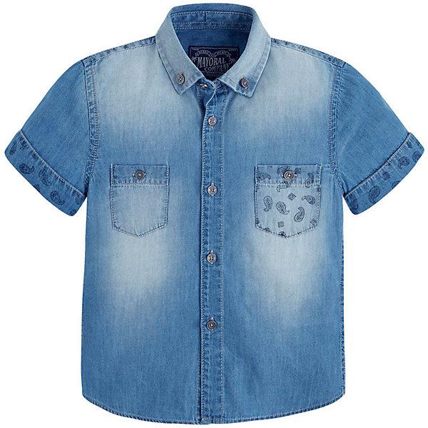 Рубашка для мальчика MayoralБлузки и рубашки<br>Рубашка для мальчика от известной испанской марки Mayoral - прекрасный вариант для повседневной носки. <br><br>Дополнительная информация:<br><br>- Приятная к телу натуральная ткань.<br>- Застегивается на пуговицы. <br>- Маленькая вышивка на груди. <br>- Ненавязчивый принт на рукавах, кармане и спине. <br>- Состав: 100 % хлопок.<br><br>Рубашку для мальчика Mayoral (Майорал) можно купить в нашем магазине.<br><br>Ширина мм: 174<br>Глубина мм: 10<br>Высота мм: 169<br>Вес г: 157<br>Цвет: голубой<br>Возраст от месяцев: 72<br>Возраст до месяцев: 84<br>Пол: Мужской<br>Возраст: Детский<br>Размер: 122,134,98,110,116,128,104<br>SKU: 4541796