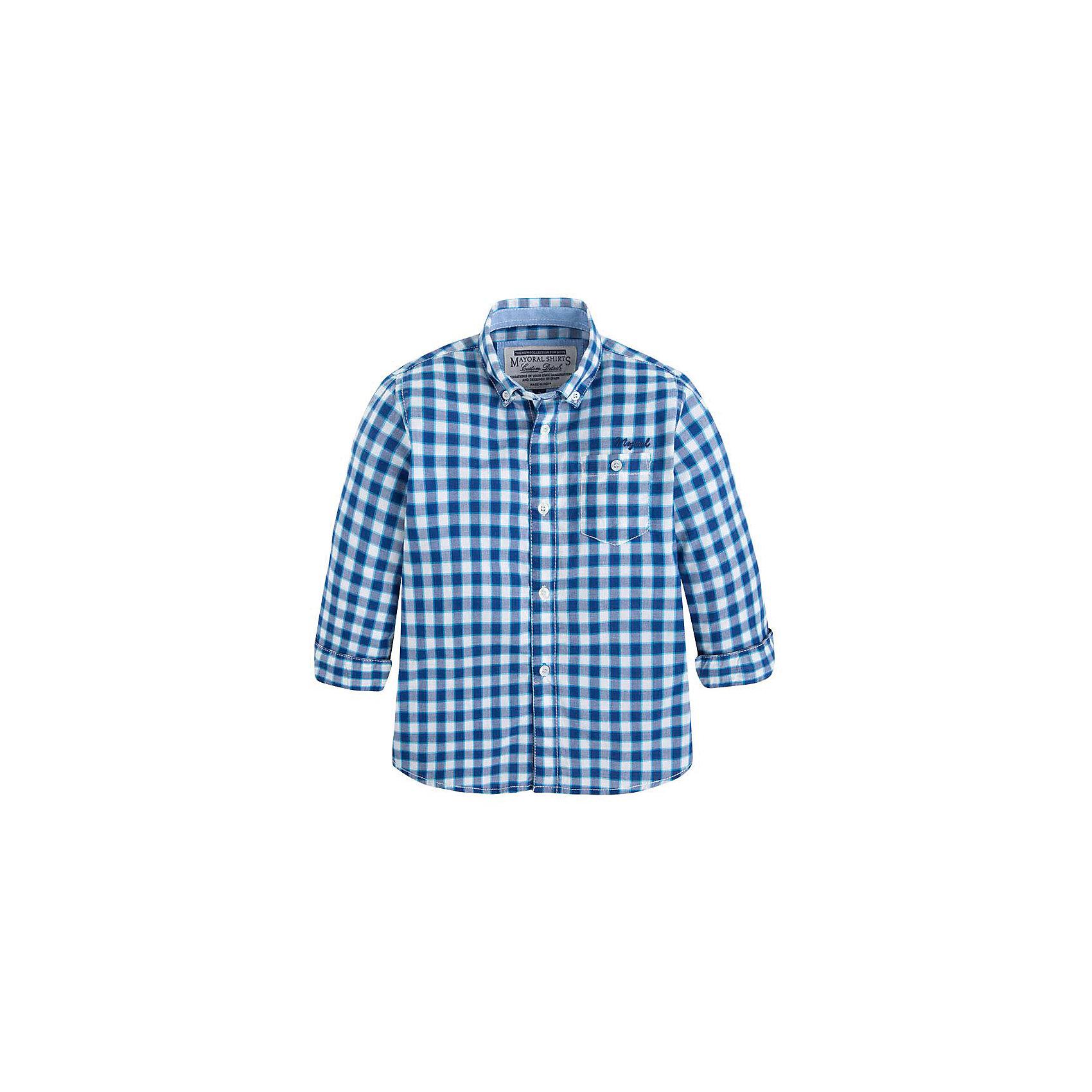Рубашка для мальчика MayoralРубашка для мальчика от известной испанской марки Mayoral <br><br>Модная рубашка от Mayoral актуальна и на каждый день и на праздник! Она прекрасно сочетается с джинсами и брюками.  Модель выполнена из качественных материалов, отлично сидит по фигуре.<br><br>Особенности модели:<br><br>- цвет: голубой, клетка<br>- рукава 1/2;<br>- отвороты;<br>- натуральный материал.<br><br>Дополнительная информация:<br><br>Состав: 100% хлопок<br><br>Рубашку для мальчика Mayoral (Майорал) можно купить в нашем магазине.<br><br>Ширина мм: 174<br>Глубина мм: 10<br>Высота мм: 169<br>Вес г: 157<br>Цвет: голубой<br>Возраст от месяцев: 84<br>Возраст до месяцев: 96<br>Пол: Мужской<br>Возраст: Детский<br>Размер: 128,104,98,110,134,122,116<br>SKU: 4541821