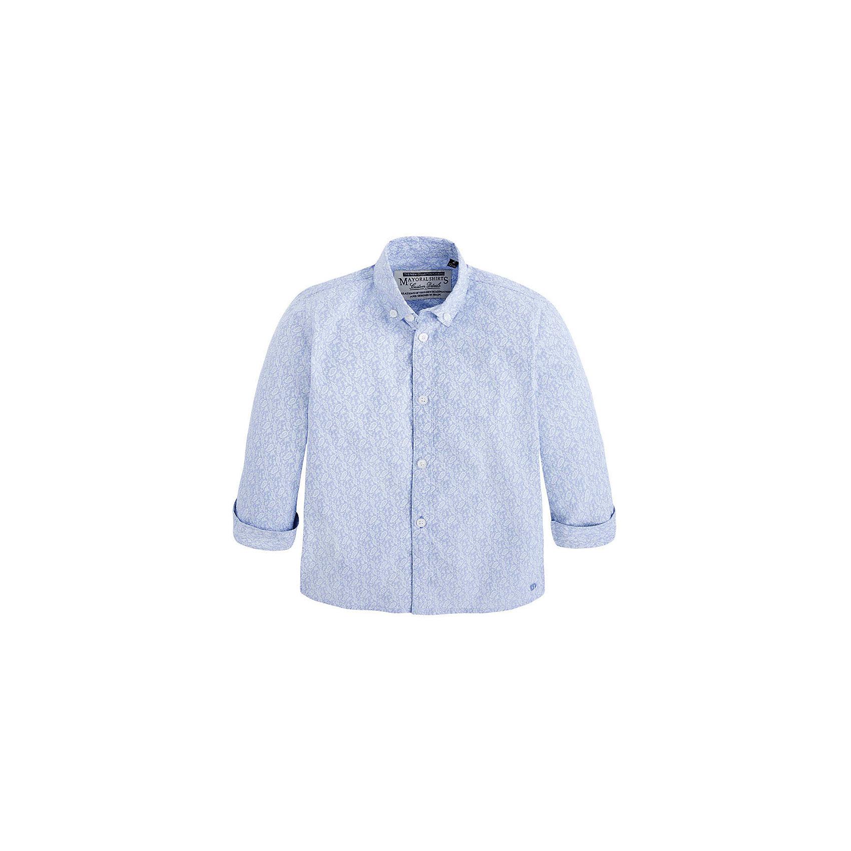 Рубашка для мальчика MayoralРубашка для мальчика от известной испанской марки Mayoral <br><br>Модная рубашка от Mayoral актуальна и на каждый день и на праздник! Она прекрасно сочетается с джинсами и брюками.  Модель выполнена из качественных материалов, отлично сидит по фигуре.<br><br>Особенности модели:<br><br>- цвет: сиреневый;<br>- рукава 1/2;<br>- отвороты;<br>- ткань украшена принтом;<br>- натуральный материал.<br><br>Дополнительная информация:<br><br>Состав: 100% хлопок<br><br>Рубашку для мальчика Mayoral (Майорал) можно купить в нашем магазине.<br><br>Ширина мм: 174<br>Глубина мм: 10<br>Высота мм: 169<br>Вес г: 157<br>Цвет: фиолетовый<br>Возраст от месяцев: 36<br>Возраст до месяцев: 48<br>Пол: Мужской<br>Возраст: Детский<br>Размер: 104,134,128,122,98,110,116<br>SKU: 4541829