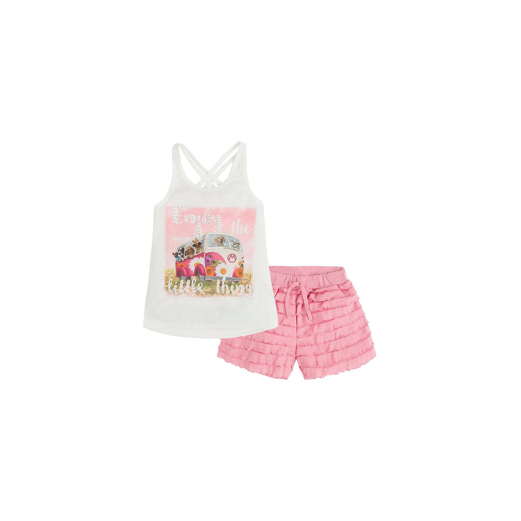 Комплект: футболка и шорты для девочки MayoralКомплект: футболка и шорты для девочки от известной испанской марки Mayoral <br><br>Очень красивый комплект от Mayoral - отличный вариант летней одежды для девочек! Выглядит нарядно и оригинально. Модель выполнена из качественных материалов, отлично сидит по фигуре.<br><br>Особенности модели:<br><br>- цвет: белый, розовый;<br>- на шортах - оборки, пояс на резинке;<br>- майка украшена принтом;<br>- лямки перекрещены, спина открыта.<br><br>Дополнительная информация:<br><br>Состав: 100% полиэстер<br><br>Комплект: футболка и шорты для девочки Mayoral (Майорал) можно купить в нашем магазине.<br><br>Ширина мм: 191<br>Глубина мм: 10<br>Высота мм: 175<br>Вес г: 273<br>Цвет: розовый<br>Возраст от месяцев: 24<br>Возраст до месяцев: 36<br>Пол: Женский<br>Возраст: Детский<br>Размер: 98,104,110,116,122<br>SKU: 4541986