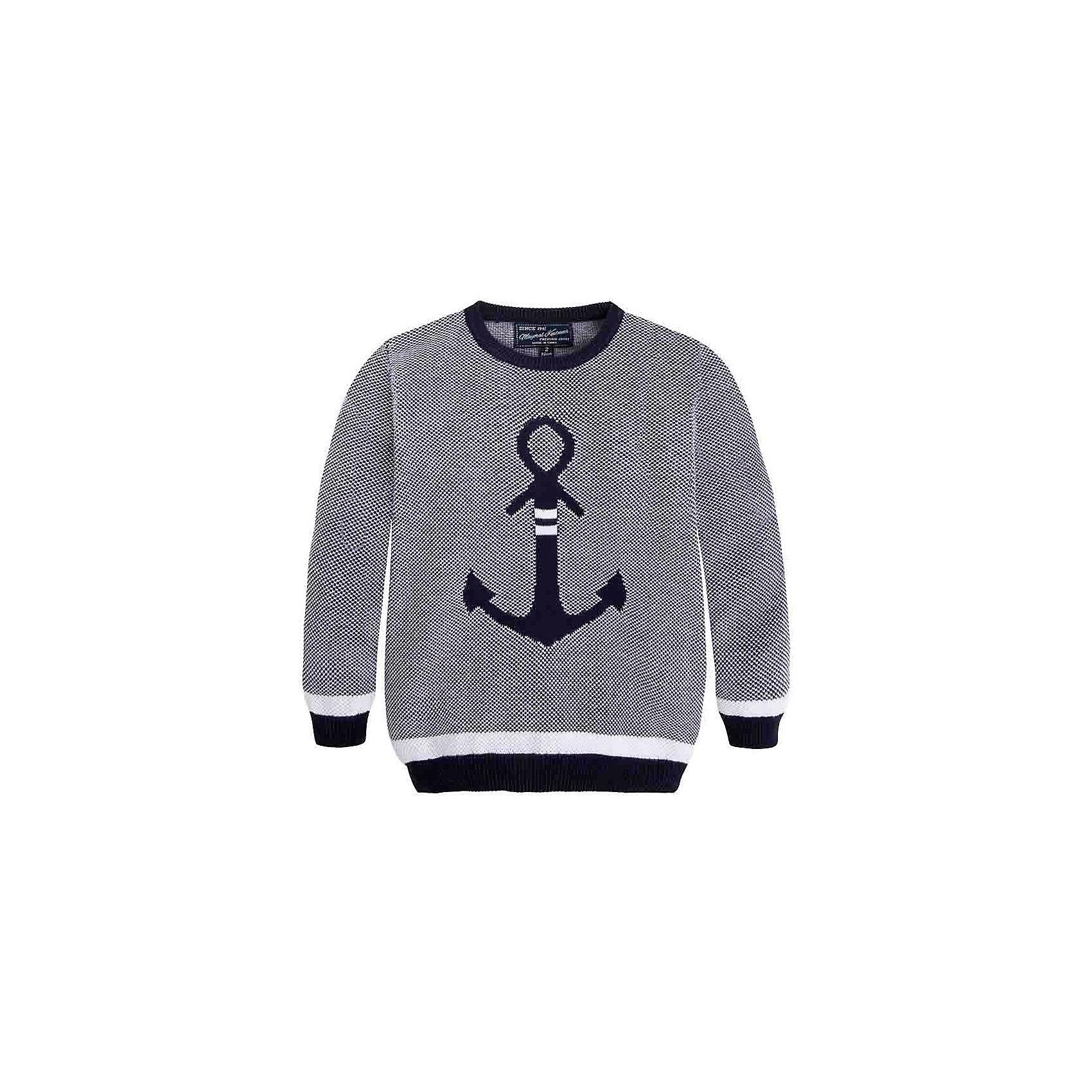 Свитер для мальчика MayoralСвитер для мальчика от известной испанской марки Mayoral <br><br>Модный свитер от Mayoral актуален в прохладную погоду. Он прекрасно сочетается с джинсами и брюками.  Модель выполнена из качественных материалов, отлично садится по фигуре.<br><br>Особенности модели:<br><br>- цвет: синий;<br>- рукава длинные;<br>- принт -  якорь;<br>- низ и конец рукавов - резинки;<br>- натуральный материал.<br><br>Дополнительная информация:<br><br>Состав: 100% хлопок<br><br>Свитер для мальчика Mayoral (Майорал) можно купить в нашем магазине.<br><br>Ширина мм: 190<br>Глубина мм: 74<br>Высота мм: 229<br>Вес г: 236<br>Цвет: синий<br>Возраст от месяцев: 72<br>Возраст до месяцев: 84<br>Пол: Мужской<br>Возраст: Детский<br>Размер: 122,104,98,110,92,116,128,134<br>SKU: 4542016