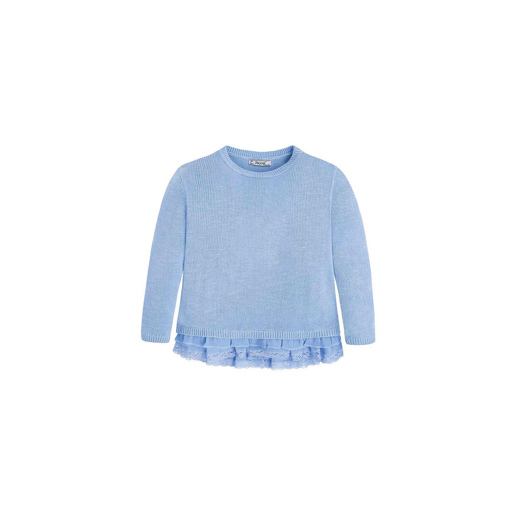 Свитер для девочки MayoralСвитер для девочки от известной испанской марки Mayoral <br><br>Модный свитер от Mayoral актуален в прохладную погоду. Он прекрасно сочетается с различным низом.  Модель выполнена из качественных материалов, отлично садится по фигуре.<br><br>Особенности модели:<br><br>- цвет: голубой;<br>- рукава длинные;<br>- круглый горловой вырез;<br>- низ отделан шифоном и кружевом.<br><br>Дополнительная информация:<br><br>Состав: 47% хлопок, 25% вискоза, 25% полиэстер, 3% металл<br><br>Свитер для девочки Mayoral (Майорал) можно купить в нашем магазине.<br><br>Ширина мм: 190<br>Глубина мм: 74<br>Высота мм: 229<br>Вес г: 236<br>Цвет: голубой<br>Возраст от месяцев: 48<br>Возраст до месяцев: 60<br>Пол: Женский<br>Возраст: Детский<br>Размер: 110,98,134,92,116,104,122,128<br>SKU: 4542051