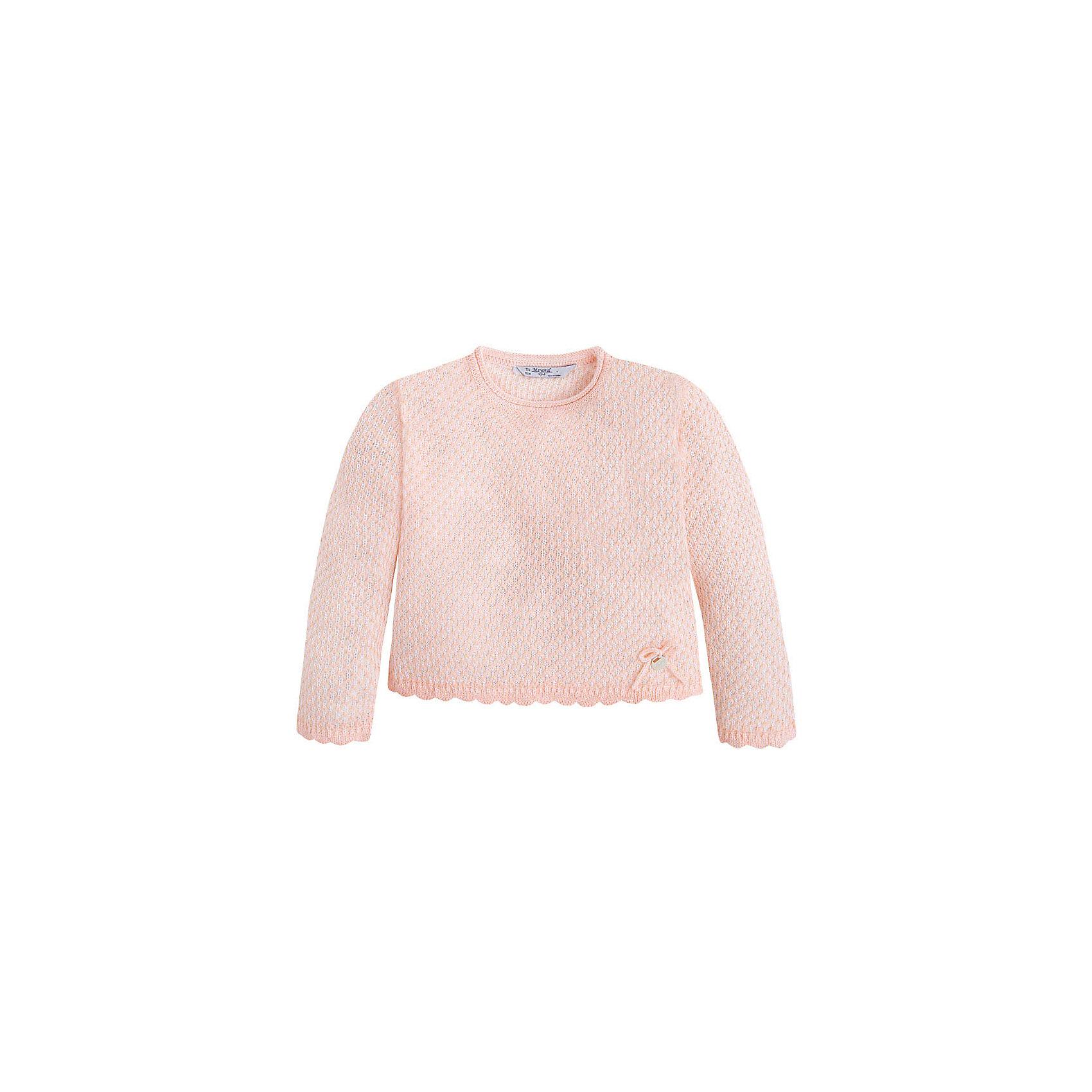Свитер для девочки MayoralСвитера и кардиганы<br>Свитер для девочки от известной испанской марки Mayoral <br><br>Модный свитер от Mayoral актуален в прохладную погоду. Он прекрасно сочетается с различным низом.  Модель выполнена из качественных материалов, отлично садится по фигуре.<br><br>Особенности модели:<br><br>- цвет: розовый;<br>- рукава длинные;<br>- круглый горловой вырез;<br>- отделка низа и рукавов.<br><br>Дополнительная информация:<br><br>Состав: 100% акрил<br><br>Свитер для девочки Mayoral (Майорал) можно купить в нашем магазине.<br><br>Ширина мм: 190<br>Глубина мм: 74<br>Высота мм: 229<br>Вес г: 236<br>Цвет: розовый<br>Возраст от месяцев: 60<br>Возраст до месяцев: 72<br>Пол: Женский<br>Возраст: Детский<br>Размер: 98,104,110,134,128,116,122<br>SKU: 4542060