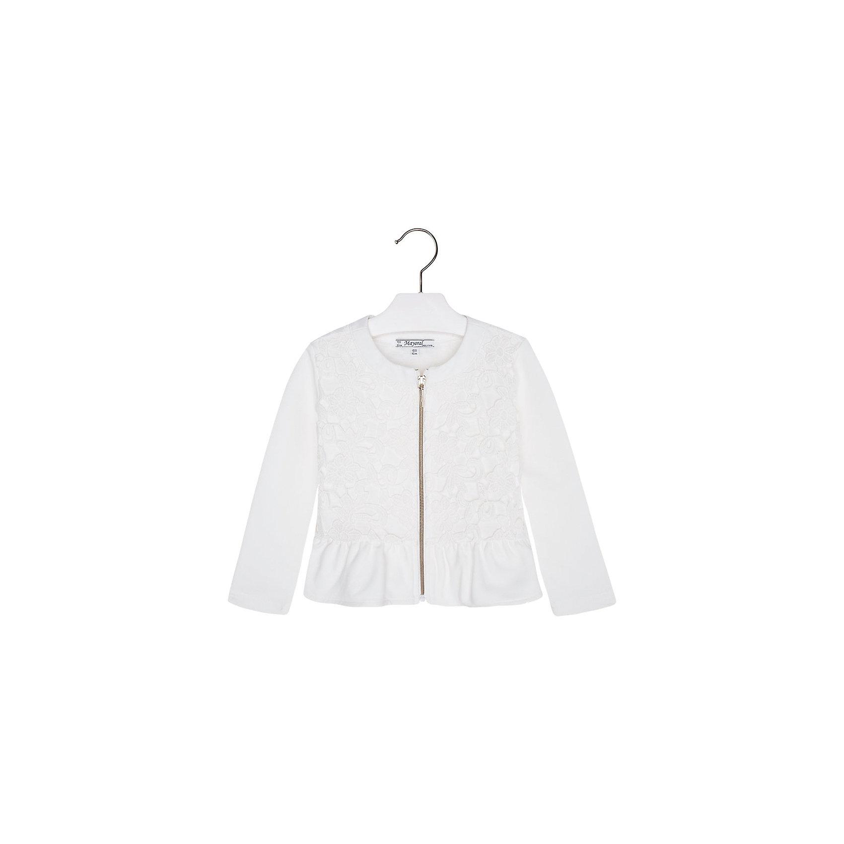 Пиджак для девочки MayoralПиджак для девочки от известной испанской марки Mayoral <br><br>Стильный светлый пиджак от Mayoral актуален в прохладную погоду. Он прекрасно сочетается с различным низом.  Модель выполнена из качественных материалов, отлично садится по фигуре.<br><br>Особенности модели:<br><br>- цвет: белый;<br>- рукава длинные;<br>- украшен гипюром;<br>- молния;<br>- круглый горловой вырез;<br>- отделка низа воланом.<br><br>Дополнительная информация:<br><br>Состав: 69% полиэстер, 30% хлопок, 1% эластан<br><br>Пиджак для девочки Mayoral (Майорал) можно купить в нашем магазине.<br><br>Ширина мм: 356<br>Глубина мм: 10<br>Высота мм: 245<br>Вес г: 519<br>Цвет: белый<br>Возраст от месяцев: 48<br>Возраст до месяцев: 60<br>Пол: Женский<br>Возраст: Детский<br>Размер: 110,98,104,116,128,134,122<br>SKU: 4542126