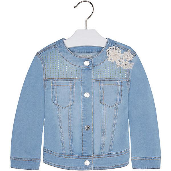 Куртка джинсовая для девочки MayoralДжинсовая одежда<br>Куртка для девочки от известной испанской марки Mayoral стильный и практичный вариант на каждый день. <br><br>Дополнительная информация:<br><br>- Мягкая натуральная ткань.<br>- Округлый вырез горловины.<br>- 2 кармана на груди.<br>- Застегивается на кнопки.<br>- Манжеты на кнопках.<br>- Декоративные сборки на спине. <br>- Украшена металлическими бусинками.<br>- Нежная объемная кружевная аппликация на плече.  <br>- Состав:  98 % хлопок, 2% эластан. <br><br>Куртку для девочки Mayoral (Майорал) можно купить в нашем магазине.<br>Ширина мм: 356; Глубина мм: 10; Высота мм: 245; Вес г: 519; Цвет: синий; Возраст от месяцев: 84; Возраст до месяцев: 96; Пол: Женский; Возраст: Детский; Размер: 116,122,98,134,110,128,92,104; SKU: 4542143;