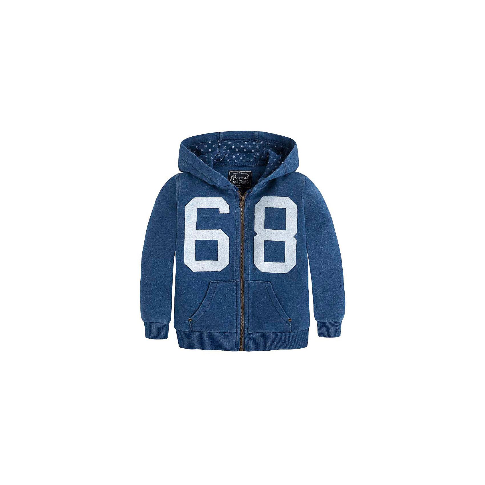 Толстовка для мальчика MayoralКуртка для мальчика от известной испанской марки Mayoral <br><br>Стильная объемная куртка от Mayoral очень оригинально и стильно смотрится. Она прекрасно сочетается с различным низом.  Модель выполнена из качественных материалов, отлично садится по фигуре.<br><br>Особенности модели:<br><br>- цвет: голубой;<br>- рукава длинные;<br>- молния;<br>- украшена принтом;<br>- карманы;<br>- низ и рукава отделаны трикотажной резинкой;<br>- капюшон.<br><br>Дополнительная информация:<br><br>Состав: 85% хлопок, 15% полиэстер<br><br>Куртку для  мальчика Mayoral (Майорал) можно купить в нашем магазине.<br><br>Ширина мм: 356<br>Глубина мм: 10<br>Высота мм: 245<br>Вес г: 519<br>Цвет: голубой<br>Возраст от месяцев: 84<br>Возраст до месяцев: 96<br>Пол: Мужской<br>Возраст: Детский<br>Размер: 128,104,116,122,110,98,134<br>SKU: 4542210