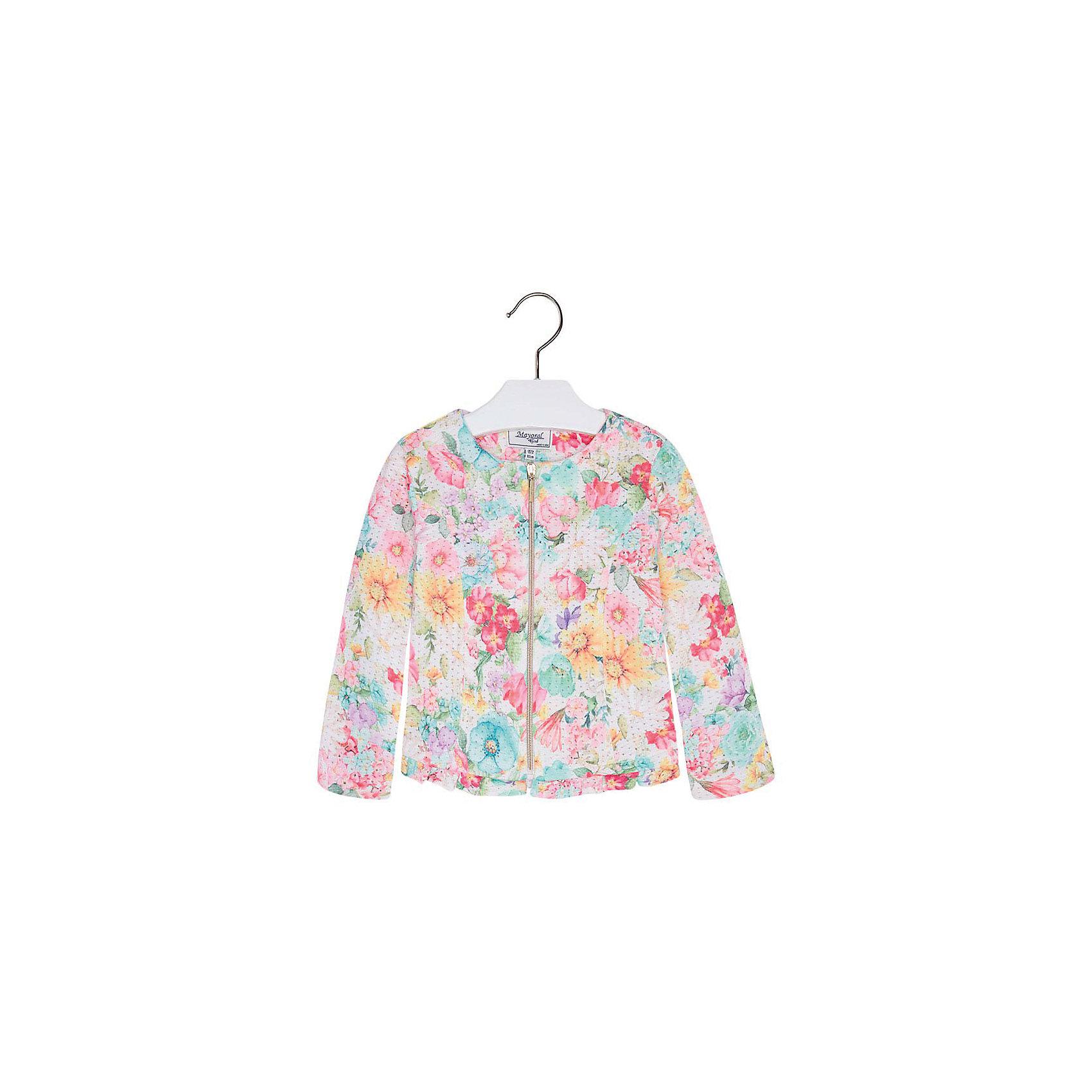 Куртка для девочки MayoralКуртка для девочки от известной испанской марки Mayoral <br><br>Красивая легкая куртка от Mayoral очень оригинально и стильно смотрится. Она прекрасно сочетается с различным низом.  Модель выполнена из качественных материалов, отлично садится по фигуре.<br><br>Особенности модели:<br><br>- цвет: разноцветный;<br>- рукава длинные;<br>- молния;<br>- круглый горловой вырез;<br>- отделка низа оборкой.<br><br>Дополнительная информация:<br><br>Состав: 65% полиэстер, 35% хлопок<br><br>Куртку для девочки Mayoral (Майорал) можно купить в нашем магазине.<br><br>Ширина мм: 356<br>Глубина мм: 10<br>Высота мм: 245<br>Вес г: 519<br>Цвет: голубой<br>Возраст от месяцев: 24<br>Возраст до месяцев: 36<br>Пол: Женский<br>Возраст: Детский<br>Размер: 128,122,110,104,116,134,98<br>SKU: 4542226