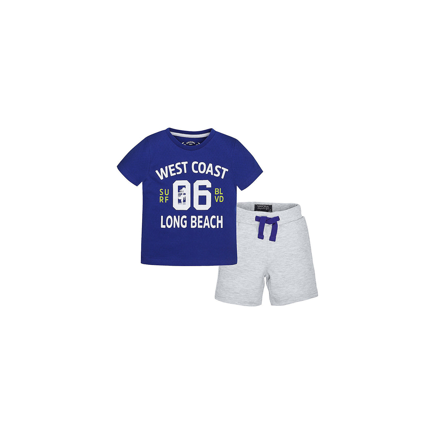 Комплект для мальчика: футболка и шорты MayoralКомплект: футболка и шорты для мальчика от известной испанской марки Mayoral <br><br>Модная футболка с шортами от Mayoral особенно актуальны в теплое время года! Она прекрасно сочетаются и с другими вещами.  Модель выполнена из качественных материалов, отлично сидит по фигуре.<br><br>Особенности модели:<br><br>- цвет: серый, синий;<br>- принт;<br>- шорты - на резинке и шнурке;<br>- натуральный материал.<br><br>Дополнительная информация:<br><br>Состав: 98% хлопок, 2% полиэстер<br><br>Комплект: футболка и шорты для мальчика Mayoral (Майорал) можно купить в нашем магазине.<br><br>Ширина мм: 199<br>Глубина мм: 10<br>Высота мм: 161<br>Вес г: 151<br>Цвет: белый<br>Возраст от месяцев: 72<br>Возраст до месяцев: 84<br>Пол: Мужской<br>Возраст: Детский<br>Размер: 104,128,110,122,116,134,98<br>SKU: 4542682
