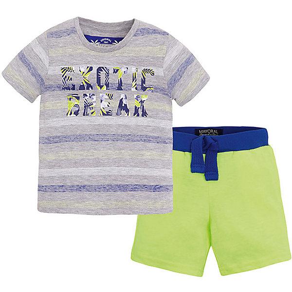 Комплект для мальчика: футболка и шорты MayoralКомплекты<br>Комплект: футболка и шорты для мальчика от известной испанской марки Mayoral <br><br>Модная футболка с шортами от Mayoral особенно актуальны в теплое время года! Она прекрасно сочетаются и с другими вещами.  Модель выполнена из качественных материалов, отлично сидит по фигуре.<br><br>Особенности модели:<br><br>- цвет: серый, желтый;<br>- принт;<br>- шорты - на резинке и шнурке;<br>- натуральный материал.<br><br>Дополнительная информация:<br><br>Состав: 95% хлопок, 5% вискоза<br><br>Комплект: футболка и шорты для мальчика Mayoral (Майорал) можно купить в нашем магазине.<br>Ширина мм: 199; Глубина мм: 10; Высота мм: 161; Вес г: 151; Цвет: желтый; Возраст от месяцев: 48; Возраст до месяцев: 60; Пол: Мужской; Возраст: Детский; Размер: 110,134,128,122,98,104,116; SKU: 4542706;