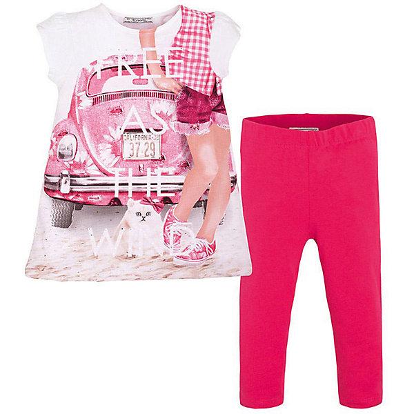 Комплект для девочки: леггинсы и футболка MayoralКомплекты<br>Комплект: леггинсы и футболка  для девочки от известной испанской марки Mayoral <br><br>Очень красивый комплект от Mayoral - отличный вариант летней одежды для девочек! Выглядит нарядно и оригинально. Модель выполнена из качественных материалов, отлично сидит по фигуре.<br><br>Особенности модели:<br><br>- цвет: белый, красный;<br>- леггинсы -  однотонные, пояс на резинке;<br>- футболка украшена принтом.<br><br>Дополнительная информация:<br><br>Состав: 92% хлопок, 8% эластан<br><br>Комплект: леггинсы и футболка для девочки Mayoral (Майорал) можно купить в нашем магазине.<br>Ширина мм: 123; Глубина мм: 10; Высота мм: 149; Вес г: 209; Цвет: красный; Возраст от месяцев: 36; Возраст до месяцев: 48; Пол: Женский; Возраст: Детский; Размер: 104,134,92,98,110,116,122,128; SKU: 4542876;
