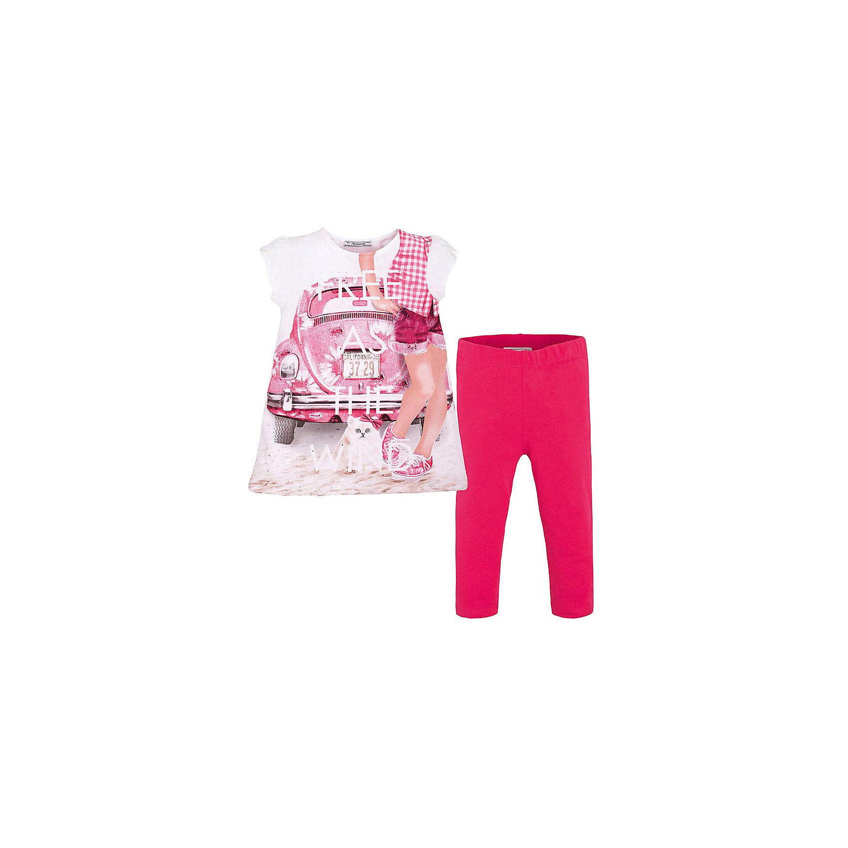 Комплект для девочки: леггинсы и футболка MayoralКомплект: леггинсы и футболка  для девочки от известной испанской марки Mayoral <br><br>Очень красивый комплект от Mayoral - отличный вариант летней одежды для девочек! Выглядит нарядно и оригинально. Модель выполнена из качественных материалов, отлично сидит по фигуре.<br><br>Особенности модели:<br><br>- цвет: белый, красный;<br>- леггинсы -  однотонные, пояс на резинке;<br>- футболка украшена принтом.<br><br>Дополнительная информация:<br><br>Состав: 92% хлопок, 8% эластан<br><br>Комплект: леггинсы и футболка для девочки Mayoral (Майорал) можно купить в нашем магазине.<br><br>Ширина мм: 123<br>Глубина мм: 10<br>Высота мм: 149<br>Вес г: 209<br>Цвет: красный<br>Возраст от месяцев: 18<br>Возраст до месяцев: 24<br>Пол: Женский<br>Возраст: Детский<br>Размер: 92,134,128,122,116,110,104,98<br>SKU: 4542876