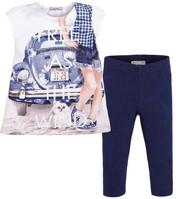 Комплект для девочки: леггинсы и футболка Mayoral