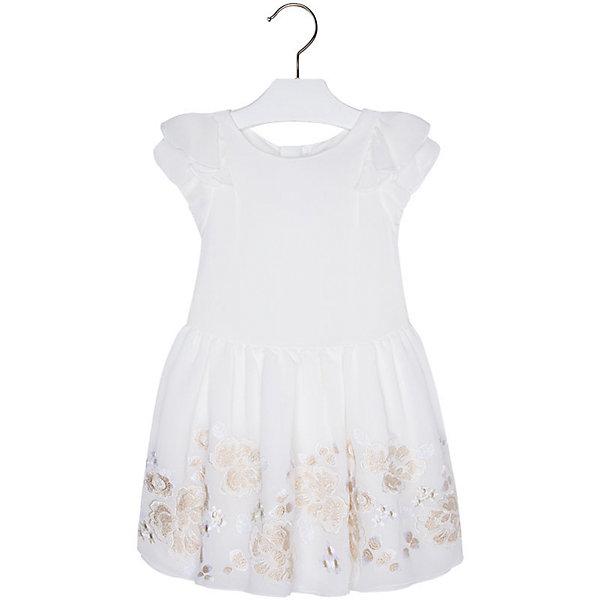 Платье для девочки MayoralОдежда<br>Платье для девочки от известной испанской марки Mayoral - прекрасный вариант как для торжественного мероприятия, так и для повседневной носки.<br><br>Дополнительная информация:<br><br>- Пышная юбка.<br>- Короткий рукав.<br>- Аппликация в виде нежных цветов. <br>- Пояс на талии завязывается на спине. <br>- Застегивается на молнию на спине.<br>- Состав:  верх - 100% полиэстер, подкладка - 65% полиэстер, 35% хлопок.<br><br>Платье для девочки Mayoral (Майорал) можно купить в нашем магазине.<br>Ширина мм: 236; Глубина мм: 16; Высота мм: 184; Вес г: 177; Цвет: бежевый; Возраст от месяцев: 24; Возраст до месяцев: 36; Пол: Женский; Возраст: Детский; Размер: 98,134,104,110,122,128,116; SKU: 4543033;