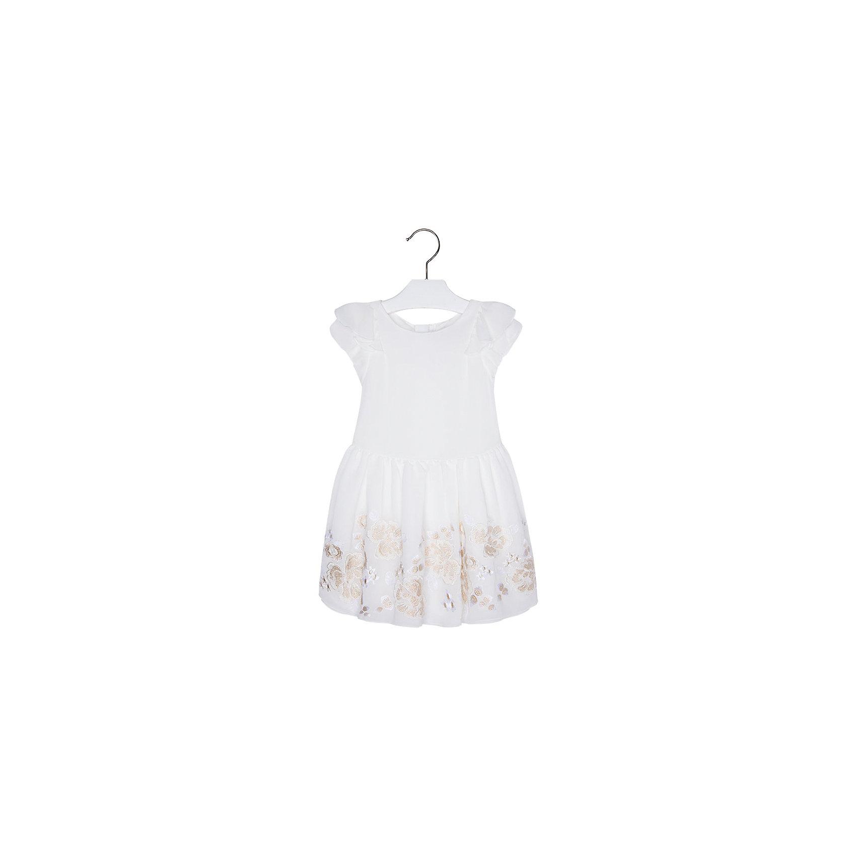 Платье для девочки MayoralОдежда<br>Платье для девочки от известной испанской марки Mayoral - прекрасный вариант как для торжественного мероприятия, так и для повседневной носки.<br><br>Дополнительная информация:<br><br>- Пышная юбка.<br>- Короткий рукав.<br>- Аппликация в виде нежных цветов. <br>- Пояс на талии завязывается на спине. <br>- Застегивается на молнию на спине.<br>- Состав:  верх - 100% полиэстер, подкладка - 65% полиэстер, 35% хлопок.<br><br>Платье для девочки Mayoral (Майорал) можно купить в нашем магазине.<br><br>Ширина мм: 236<br>Глубина мм: 16<br>Высота мм: 184<br>Вес г: 177<br>Цвет: бежевый<br>Возраст от месяцев: 24<br>Возраст до месяцев: 36<br>Пол: Женский<br>Возраст: Детский<br>Размер: 98,104,134,116,128,122,110<br>SKU: 4543033