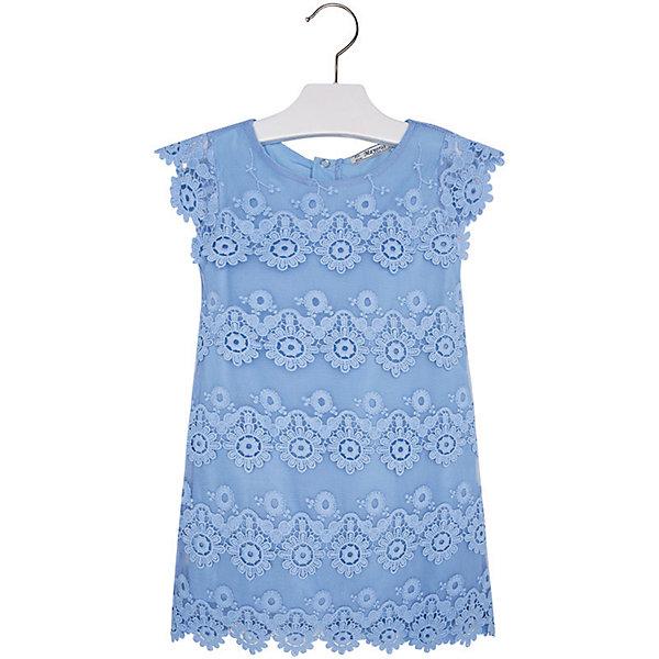 Платье для девочки MayoralОдежда<br>Платье для девочки от известной испанской марки Mayoral <br><br>Очень красивое платье от Mayoral - беспроигрышный вариант на любой праздник! Выглядит нарядно и оригинально. Модель выполнена из качественных материалов, отлично сидит по фигуре.<br><br>Особенности модели:<br><br>- цвет: голубой;<br>- сверху - гипюр;<br>- есть подкладка;<br>- сзади молния.<br><br>Дополнительная информация:<br><br>Состав: 100% полиэстер<br><br>Платье для девочки Mayoral (Майорал) можно купить в нашем магазине.<br><br>Ширина мм: 236<br>Глубина мм: 16<br>Высота мм: 184<br>Вес г: 177<br>Цвет: голубой<br>Возраст от месяцев: 18<br>Возраст до месяцев: 24<br>Пол: Женский<br>Возраст: Детский<br>Размер: 116,134,128,92,98,104,110,122<br>SKU: 4543101