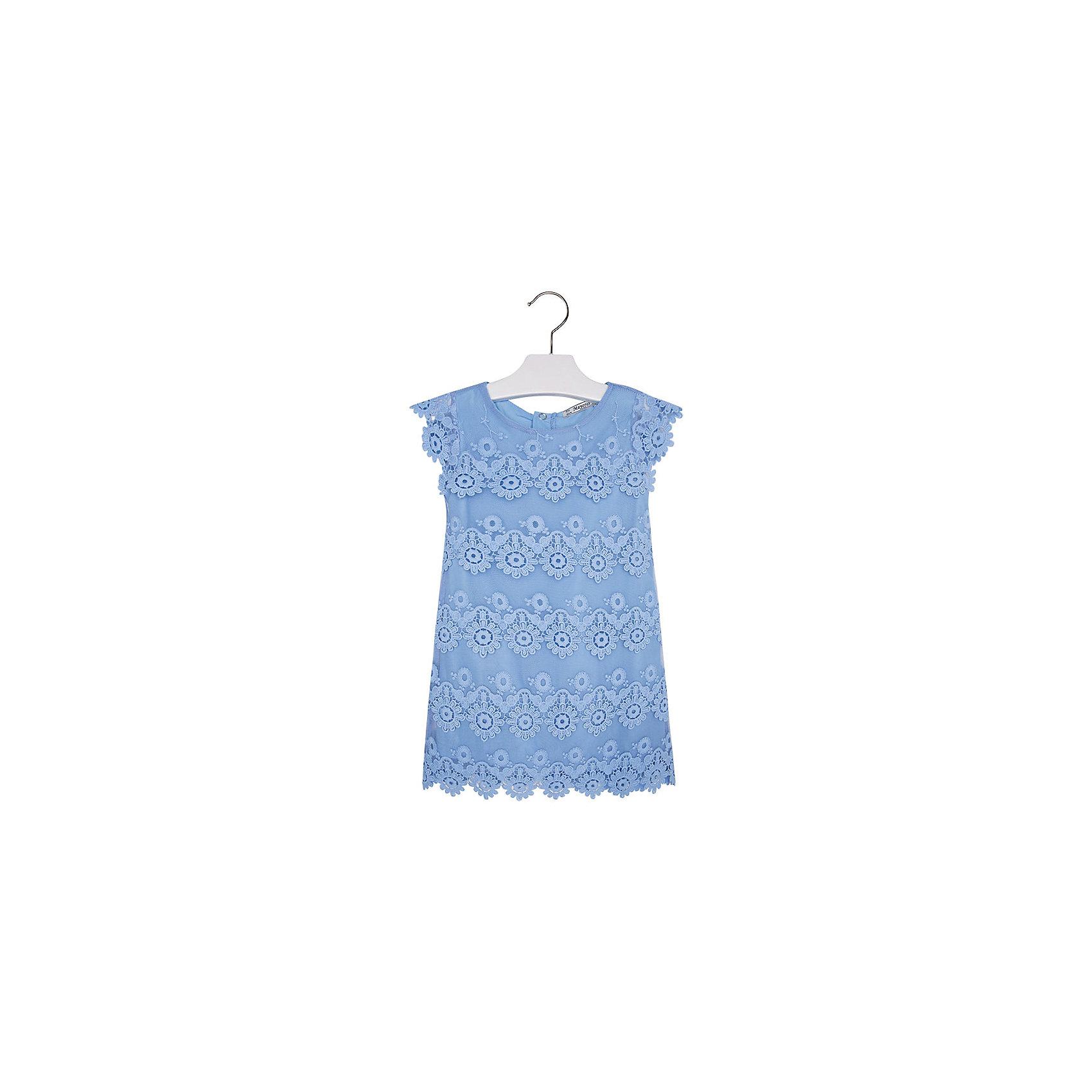 Платье для девочки MayoralПлатье для девочки от известной испанской марки Mayoral <br><br>Очень красивое платье от Mayoral - беспроигрышный вариант на любой праздник! Выглядит нарядно и оригинально. Модель выполнена из качественных материалов, отлично сидит по фигуре.<br><br>Особенности модели:<br><br>- цвет: голубой;<br>- сверху - гипюр;<br>- есть подкладка;<br>- сзади молния.<br><br>Дополнительная информация:<br><br>Состав: 100% полиэстер<br><br>Платье для девочки Mayoral (Майорал) можно купить в нашем магазине.<br><br>Ширина мм: 236<br>Глубина мм: 16<br>Высота мм: 184<br>Вес г: 177<br>Цвет: голубой<br>Возраст от месяцев: 18<br>Возраст до месяцев: 24<br>Пол: Женский<br>Возраст: Детский<br>Размер: 92,98,104,110,122,128,116,134<br>SKU: 4543101