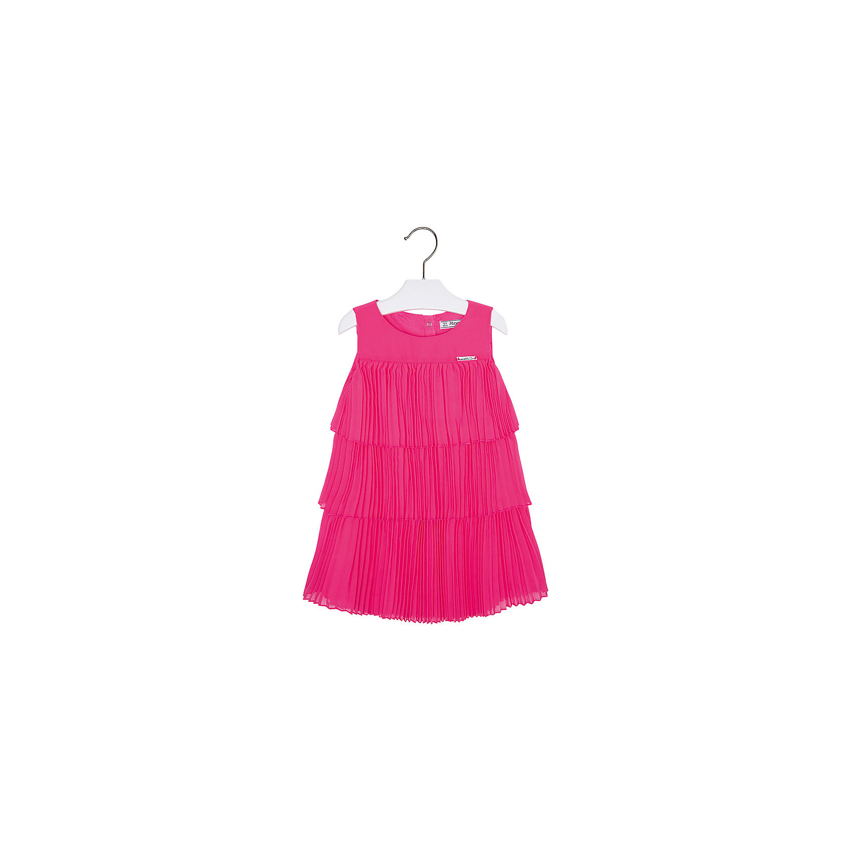 Платье для девочки MayoralПлатье для девочки от известной испанской марки Mayoral <br><br>Очень красивое платье от Mayoral отлично смотрится на любой маленькой принцессе! Выглядит нарядно и оригинально. Модель выполнена из качественных материалов, отлично сидит по фигуре.<br><br>Особенности модели:<br><br>- цвет: розовый;<br>- силуэт - многоярусный;<br>- сзади молния.<br><br>Дополнительная информация:<br><br>Состав: 100% полиэстер<br><br>Платье для девочки Mayoral (Майорал) можно купить в нашем магазине.<br><br>Ширина мм: 236<br>Глубина мм: 16<br>Высота мм: 184<br>Вес г: 177<br>Цвет: розовый<br>Возраст от месяцев: 24<br>Возраст до месяцев: 36<br>Пол: Женский<br>Возраст: Детский<br>Размер: 98,122,104,128,110,116,134<br>SKU: 4543189