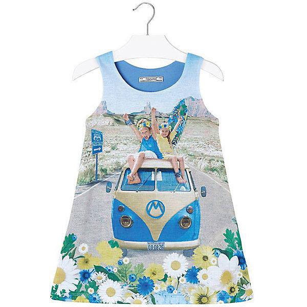 Платье для девочки MayoralПлатья и сарафаны<br>Платье для девочки от известной испанской марки Mayoral <br><br>Очень красивое платье с модным силуэтом трапеция  от Mayoral отлично смотрится на любой маленькой принцессе! Выглядит нарядно и оригинально. Модель выполнена из качественных материалов, отлично сидит по фигуре.<br><br>Особенности модели:<br><br>- цвет: голубой;<br>- впереди декорировано принтом;<br>- сзади - рюшами.<br><br>Дополнительная информация:<br><br>Состав: 98% полиэстер, 2% эластан<br><br>Платье для девочки Mayoral (Майорал) можно купить в нашем магазине.<br>Ширина мм: 236; Глубина мм: 16; Высота мм: 184; Вес г: 177; Цвет: синий; Возраст от месяцев: 36; Возраст до месяцев: 48; Пол: Женский; Возраст: Детский; Размер: 104,116,110,122,98; SKU: 4543249;