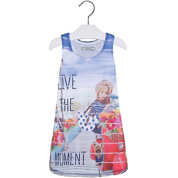 Платье для девочки MayoralЛетние платья и сарафаны<br>Платье для девочки от известной испанской марки Mayoral <br><br>Легкое и стильное платье-майка  от Mayoral разнообразит летний гардероб девочки. Выглядит оно очень модно и оригинально. Модель выполнена из качественных материалов, отлично сидит по фигуре.<br><br>Особенности модели:<br><br>- цвет: голубой;<br>- впереди декорировано принтом;<br>- сзади - рюшами.<br><br>Дополнительная информация:<br><br>Состав: 100% полиэстер<br>Платье для девочки Mayoral (Майорал) можно купить в нашем магазине.<br>Ширина мм: 236; Глубина мм: 16; Высота мм: 184; Вес г: 177; Цвет: синий; Возраст от месяцев: 36; Возраст до месяцев: 48; Пол: Женский; Возраст: Детский; Размер: 104,98,116,134,128,110,122; SKU: 4543255;