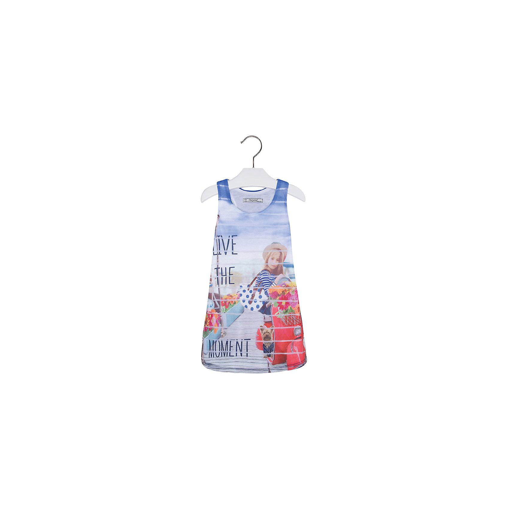 Платье для девочки MayoralПлатье для девочки от известной испанской марки Mayoral <br><br>Легкое и стильное платье-майка  от Mayoral разнообразит летний гардероб девочки. Выглядит оно очень модно и оригинально. Модель выполнена из качественных материалов, отлично сидит по фигуре.<br><br>Особенности модели:<br><br>- цвет: голубой;<br>- впереди декорировано принтом;<br>- сзади - рюшами.<br><br>Дополнительная информация:<br><br>Состав: 100% полиэстер<br>Платье для девочки Mayoral (Майорал) можно купить в нашем магазине.<br><br>Ширина мм: 236<br>Глубина мм: 16<br>Высота мм: 184<br>Вес г: 177<br>Цвет: синий<br>Возраст от месяцев: 24<br>Возраст до месяцев: 36<br>Пол: Женский<br>Возраст: Детский<br>Размер: 104,98,116,134,128,110,122<br>SKU: 4543255