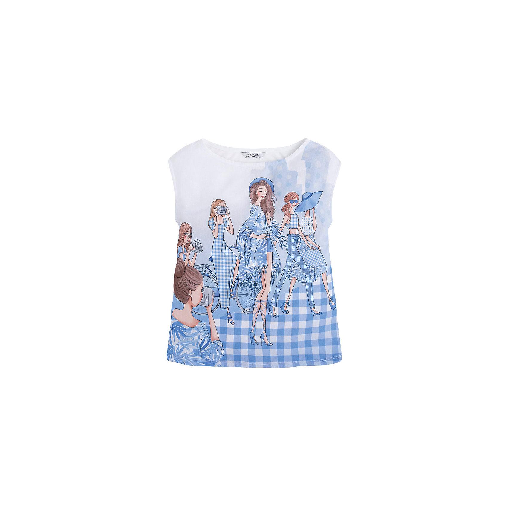 Mayoral Футболка для девочки Mayoral футболка для девочки без рукава barkito букет белая