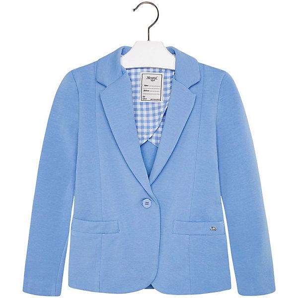 Пиджак для девочки MayoralКостюмы и пиджаки<br>Пиджак для девочки от известной испанской марки Mayoral привнесет в образ юной модницы элегантность и стиль. Выполнен в спокойной цветовой гамме, поэтому прекрасно сочетается с различной одеждой. <br><br>Дополнительная информация:<br><br>- Отлично сидит на фигуре.<br>- Застегивается на пуговицу. <br>- Прямой крой. <br>- Два боковых кармана.<br>- Декоративные складки на спине. <br>- Состав: 95 % Хлопок 5 % Эластан<br><br>Пиджак для девочки Mayoral (Майорал) можно купить в нашем магазине.<br><br>Ширина мм: 356<br>Глубина мм: 10<br>Высота мм: 245<br>Вес г: 519<br>Цвет: синий<br>Возраст от месяцев: 132<br>Возраст до месяцев: 144<br>Пол: Женский<br>Возраст: Детский<br>Размер: 152,164,170,128,140,158<br>SKU: 4543483