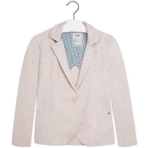 Пиджак для девочки MayoralПиджаки и костюмы<br>Пиджак для девочки от известной испанской марки Mayoral привнесет в образ юной модницы элегантность и стиль. Выполнен в спокойной цветовой гамме, поэтому прекрасно сочетается с различной одеждой. <br><br>Дополнительная информация:<br><br>- Отлично сидит на фигуре.<br>- Застегивается на пуговицу. <br>- Прямой крой. <br>- Два боковых кармана.<br>- Декоративные складки на спине. <br>- Состав: 66 % хлопок, 24% полиэстер, 10 % эластан.<br><br>Пиджак для девочки Mayoral (Майорал) можно купить в нашем магазине.<br><br>Ширина мм: 356<br>Глубина мм: 10<br>Высота мм: 245<br>Вес г: 519<br>Цвет: бежевый<br>Возраст от месяцев: 144<br>Возраст до месяцев: 156<br>Пол: Женский<br>Возраст: Детский<br>Размер: 158,170,128,140,164,152<br>SKU: 4543490