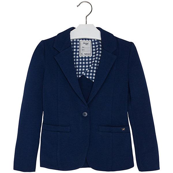 Пиджак для девочки MayoralПиджаки и костюмы<br>Пиджак для девочки от известной испанской марки Mayoral привнесет в образ юной модницы элегантность и стиль. Выполнен в спокойной цветовой гамме, поэтому прекрасно сочетается с различной одеждой. <br><br>Дополнительная информация:<br><br>- Отлично сидит на фигуре.<br>- Цвет: темно-синий. <br>- Застегивается на пуговицу. <br>- Прямой крой. <br>- Два боковых кармана.<br>- Декоративные складки на спине. <br>- Состав: 95 % Хлопок 5 % Эластан<br><br>Пиджак для девочки Mayoral (Майорал) можно купить в нашем магазине.<br>Ширина мм: 356; Глубина мм: 10; Высота мм: 245; Вес г: 519; Цвет: синий; Возраст от месяцев: 144; Возраст до месяцев: 156; Пол: Женский; Возраст: Детский; Размер: 158,140,128,152,164,170; SKU: 4543497;