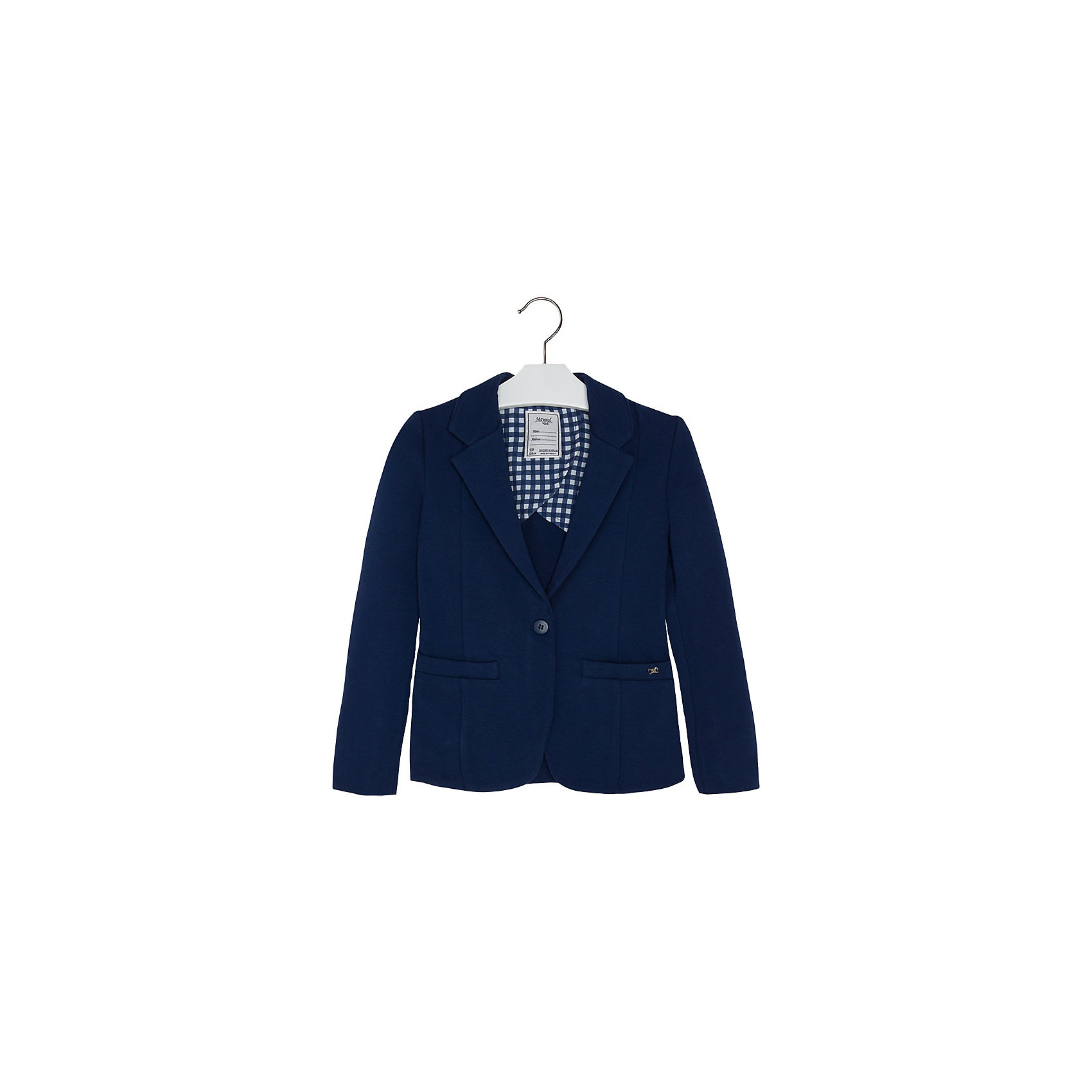 Пиджак для девочки MayoralПиджаки и костюмы<br>Пиджак для девочки от известной испанской марки Mayoral привнесет в образ юной модницы элегантность и стиль. Выполнен в спокойной цветовой гамме, поэтому прекрасно сочетается с различной одеждой. <br><br>Дополнительная информация:<br><br>- Отлично сидит на фигуре.<br>- Цвет: темно-синий. <br>- Застегивается на пуговицу. <br>- Прямой крой. <br>- Два боковых кармана.<br>- Декоративные складки на спине. <br>- Состав: 95 % Хлопок 5 % Эластан<br><br>Пиджак для девочки Mayoral (Майорал) можно купить в нашем магазине.<br><br>Ширина мм: 356<br>Глубина мм: 10<br>Высота мм: 245<br>Вес г: 519<br>Цвет: синий<br>Возраст от месяцев: 84<br>Возраст до месяцев: 96<br>Пол: Женский<br>Возраст: Детский<br>Размер: 128,140,170,164,158,152<br>SKU: 4543497