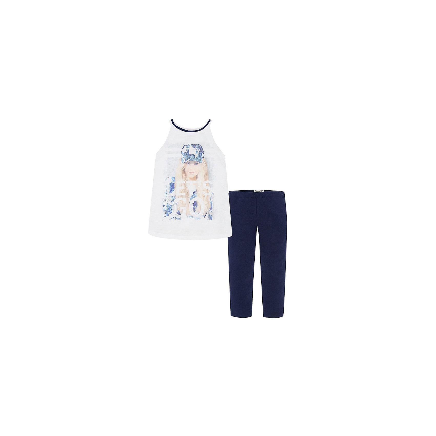 Комплект для девочки: леггинсы и майка MayoralКомплекты<br>Комплект: леггинсы и футболка для девочки от испанской марки Mayoral приведет в восторг юных модниц и займет достойное место в летнем гардеробе. <br><br>Дополнительная информация:<br><br>- Футболка без рукавов.<br>- Контрастная отделка горловины.<br>- Актуальный печатный принт.<br>- Леггинсы на эластичном поясе с резинкой.<br>- Отлично смотрятся на фигуре.<br>- Состав: 100% полиэстер.<br><br>Комплект: леггинсы и футболку для девочки Mayoral (Майорал) можно купить в нашем магазине.<br><br>Ширина мм: 123<br>Глубина мм: 10<br>Высота мм: 149<br>Вес г: 209<br>Цвет: синий<br>Возраст от месяцев: 84<br>Возраст до месяцев: 96<br>Пол: Женский<br>Возраст: Детский<br>Размер: 128,164,158,152,140,170<br>SKU: 4543504