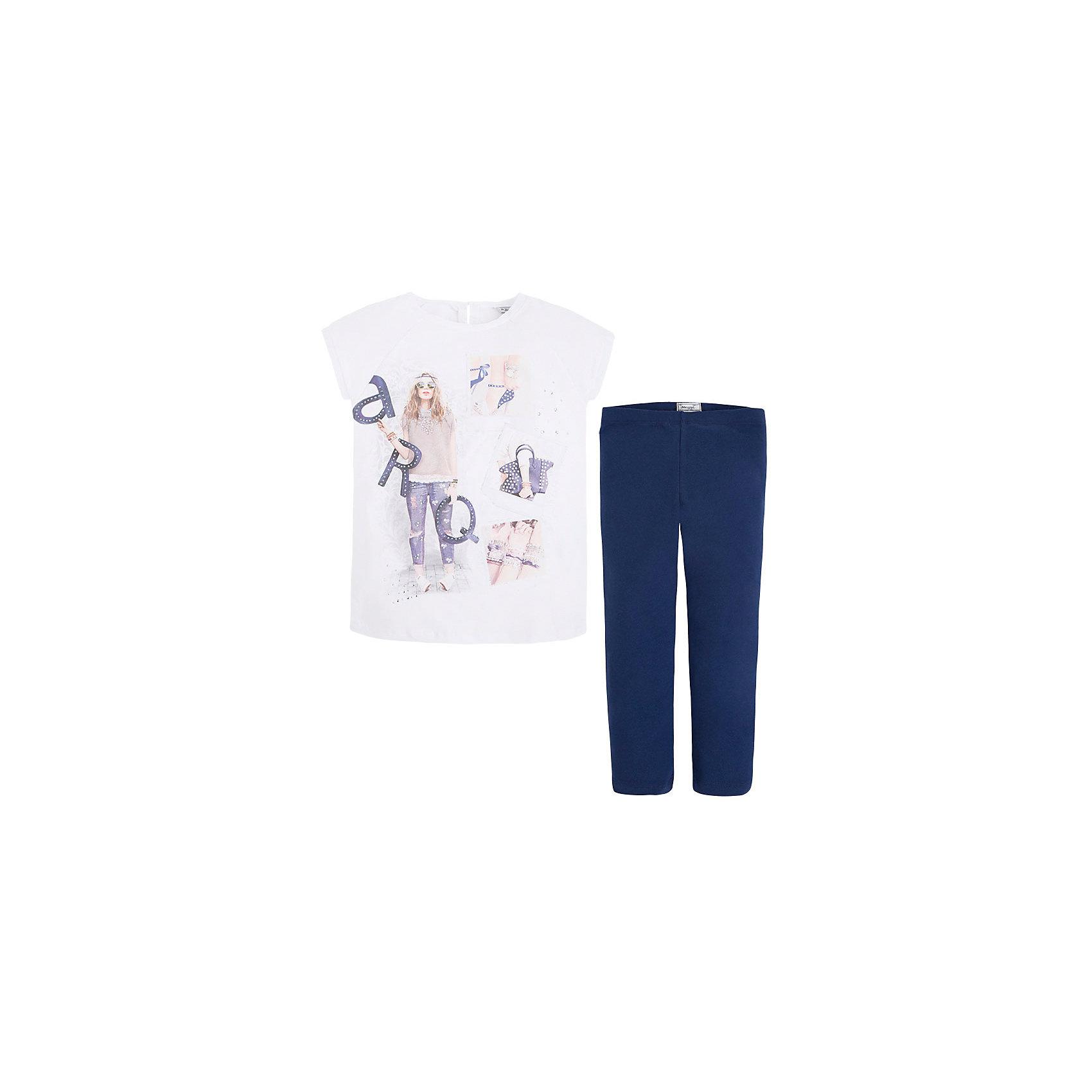 Комплект для девочки: леггинсы и футболка MayoralКомплекты<br>Комплект: леггинсы и футболка для девочки от испанской марки Mayoral приведет в восторг юных модниц и займет достойное место в летнем гардеробе. <br><br>Дополнительная информация:<br><br>- Мягкая, приятная на ощупь ткань.<br>- Футболка прямого кроя.<br>- Застегивается на пуговицу на спине.<br>- Округлый вырез горловины.<br>- Футболка украшена принтом и стразами.<br>- Леггинсы на эластичном поясе на резинке.<br>- Состав: 57% хлопок, 40% полиэстер, 3% эластан.<br><br>Комплект: леггинсы и футболку для девочки Mayoral (Майорал) можно купить в нашем магазине.<br><br>Ширина мм: 123<br>Глубина мм: 10<br>Высота мм: 149<br>Вес г: 209<br>Цвет: синий<br>Возраст от месяцев: 84<br>Возраст до месяцев: 96<br>Пол: Женский<br>Возраст: Детский<br>Размер: 128,158,170,164,152,140<br>SKU: 4543511