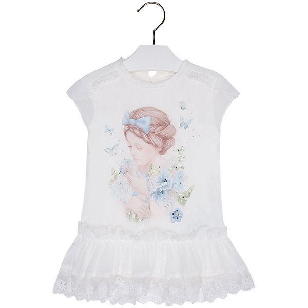 Блузка для девочки MayoralБлузки и рубашки<br>Блузка для девочки от известной испанской марки Mayoral приведет в восторг всех юных модниц. <br><br>Дополнительная информация:<br><br>- Мягкая, приятная к телу ткань. <br>- Округлый вырез горловины.<br>- Горловина в рубчик.<br>- Оборки на плечах.<br>- Печатный принт и блестящие бусинки спереди. <br>- Застегивается на пуговицу на спине.<br>- Объемная оборка с кружевом по низу. <br>- Состав: верх - 100% полиэстер; подкладка - 100% хлопок.<br><br>Блузку для девочки Mayoral (Майорал) можно купить в нашем магазине.<br><br>Ширина мм: 186<br>Глубина мм: 87<br>Высота мм: 198<br>Вес г: 197<br>Цвет: голубой<br>Возраст от месяцев: 24<br>Возраст до месяцев: 36<br>Пол: Женский<br>Возраст: Детский<br>Размер: 98,116,104,122,128,134,110<br>SKU: 4543725