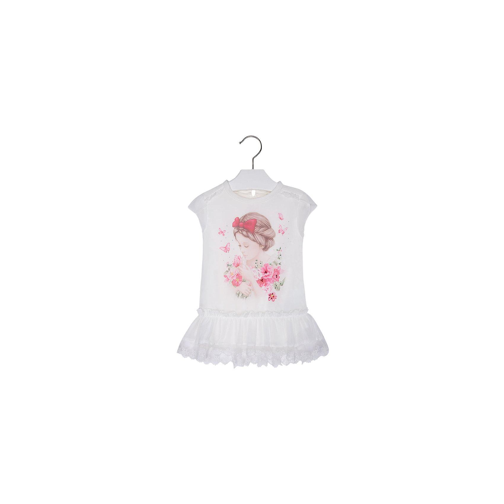 Блузка для девочки MayoralБлузки и рубашки<br>Блузка для девочки от известной испанской марки Mayoral приведет в восторг всех юных модниц. <br><br>Дополнительная информация:<br><br>- Мягкая, приятная к телу ткань. <br>- Округлый вырез горловины.<br>- Горловина в рубчик.<br>- Оборки на плечах.<br>- Печатный принт и блестящие бусинки спереди. <br>- Застегивается на пуговицу на спине.<br>- Объемная оборка с кружевом по низу. <br>- Состав: верх - 100% полиэстер; подкладка - 100% хлопок.<br><br>Блузку для девочки Mayoral (Майорал) можно купить в нашем магазине.<br><br>Ширина мм: 186<br>Глубина мм: 87<br>Высота мм: 198<br>Вес г: 197<br>Цвет: розовый<br>Возраст от месяцев: 48<br>Возраст до месяцев: 60<br>Пол: Женский<br>Возраст: Детский<br>Размер: 110,134,98,116,122,128,104<br>SKU: 4543733