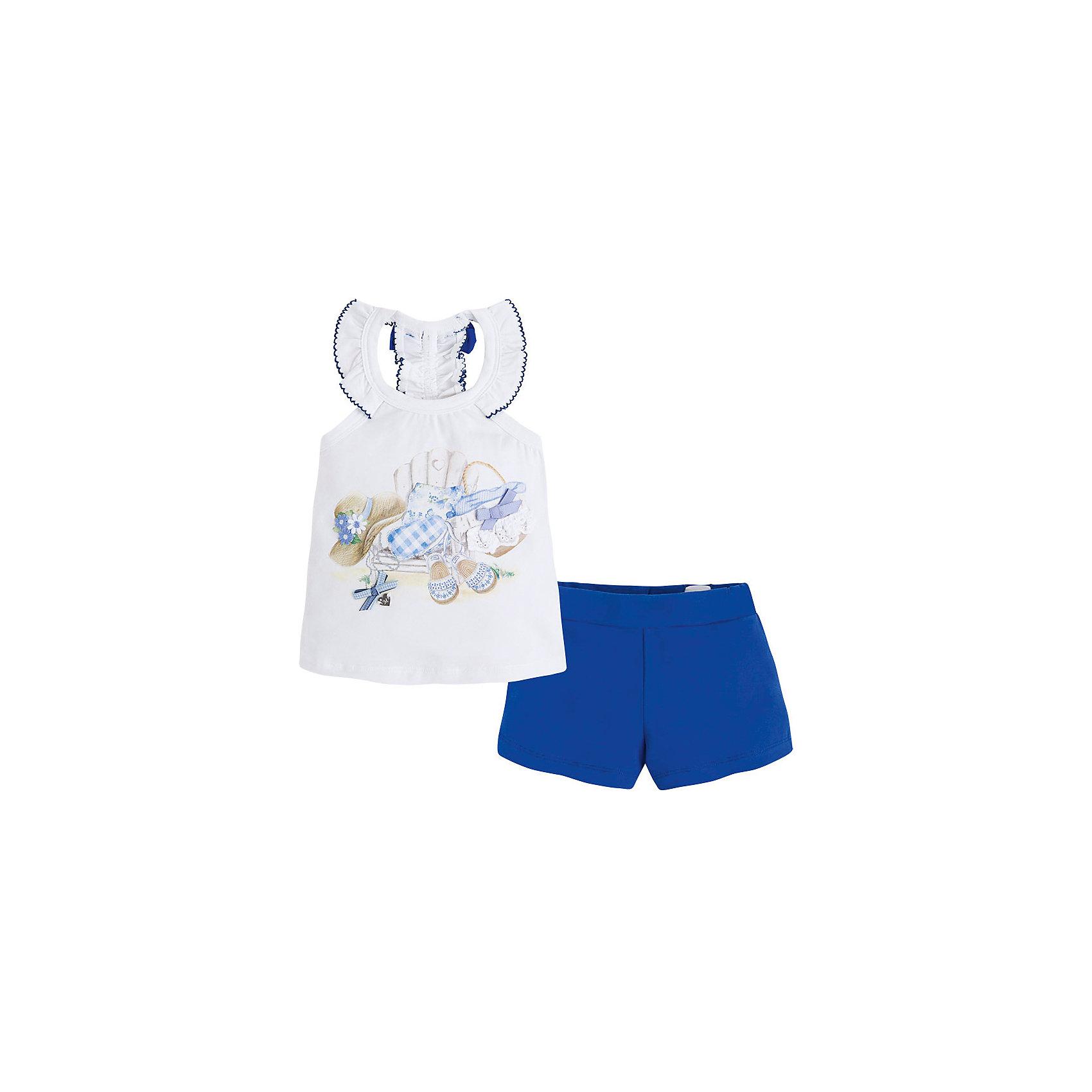 Комплект для девочки: майка и шорты  MayoralКомплект для девочки: майка и шорты для от известной испанской марки Mayoral - идеальный вариант для жаркой погоды! <br><br>Дополнительная информация:<br><br>- Оригинальный дизайн.<br>- Мягкая трикотажная ткань.<br>- Принт, объемная аппликация, металлическая подвеска на футболке.<br>- Оборки.<br>- Бант на спине.<br>- Шорты на эластичном поясе.<br>- Регулировка на талии.  <br>- Состав: 100% хлопок.<br><br>Комплект для девочки: майку и шорты Mayoral (Майорал) можно купить в нашем магазине.<br><br>Ширина мм: 191<br>Глубина мм: 10<br>Высота мм: 175<br>Вес г: 273<br>Цвет: синий<br>Возраст от месяцев: 24<br>Возраст до месяцев: 36<br>Пол: Женский<br>Возраст: Детский<br>Размер: 98,134,110,104,116,122,128<br>SKU: 4543757